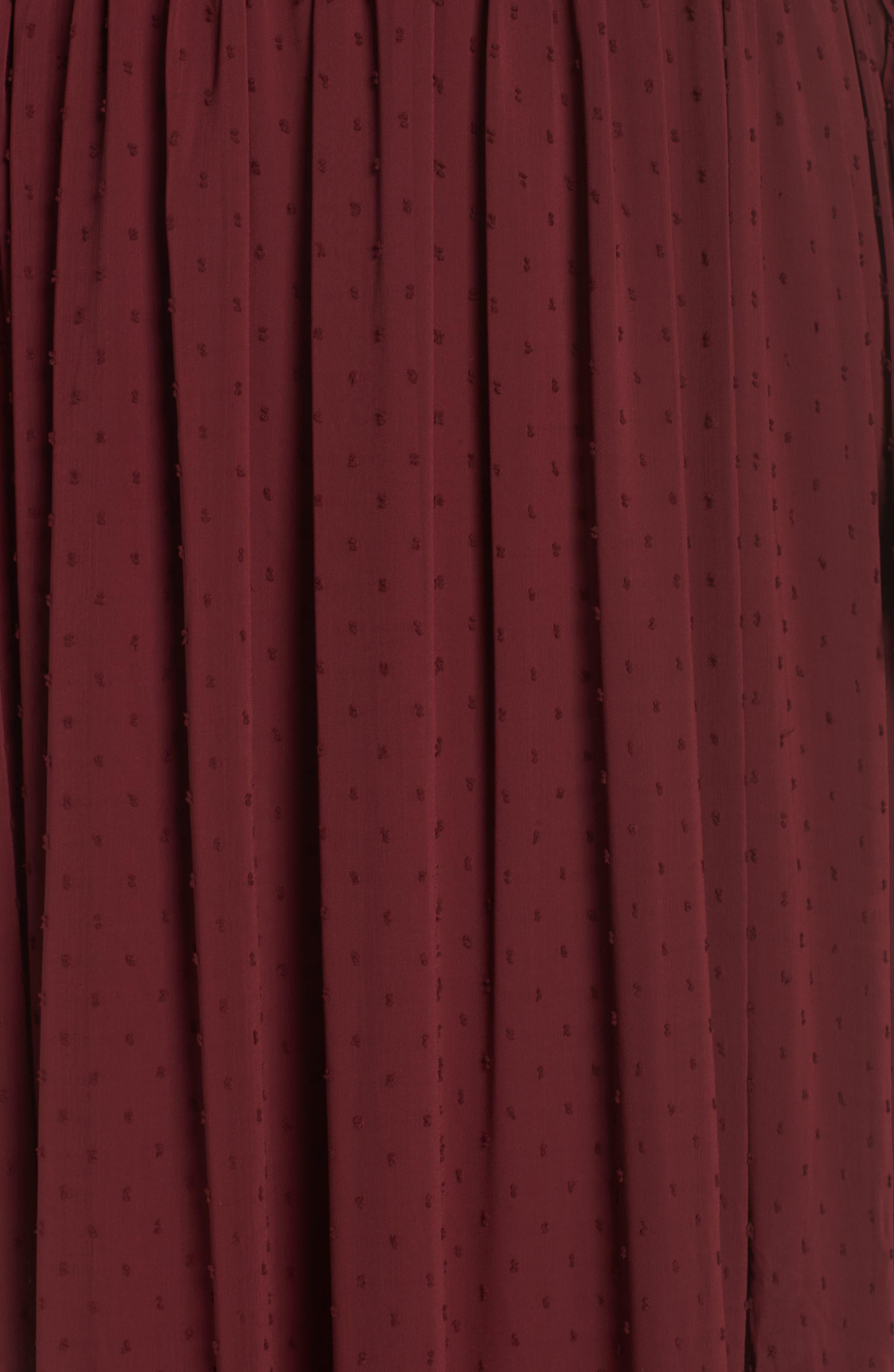 Dobby Maxi Dress,                             Alternate thumbnail 6, color,                             OXBLOOD