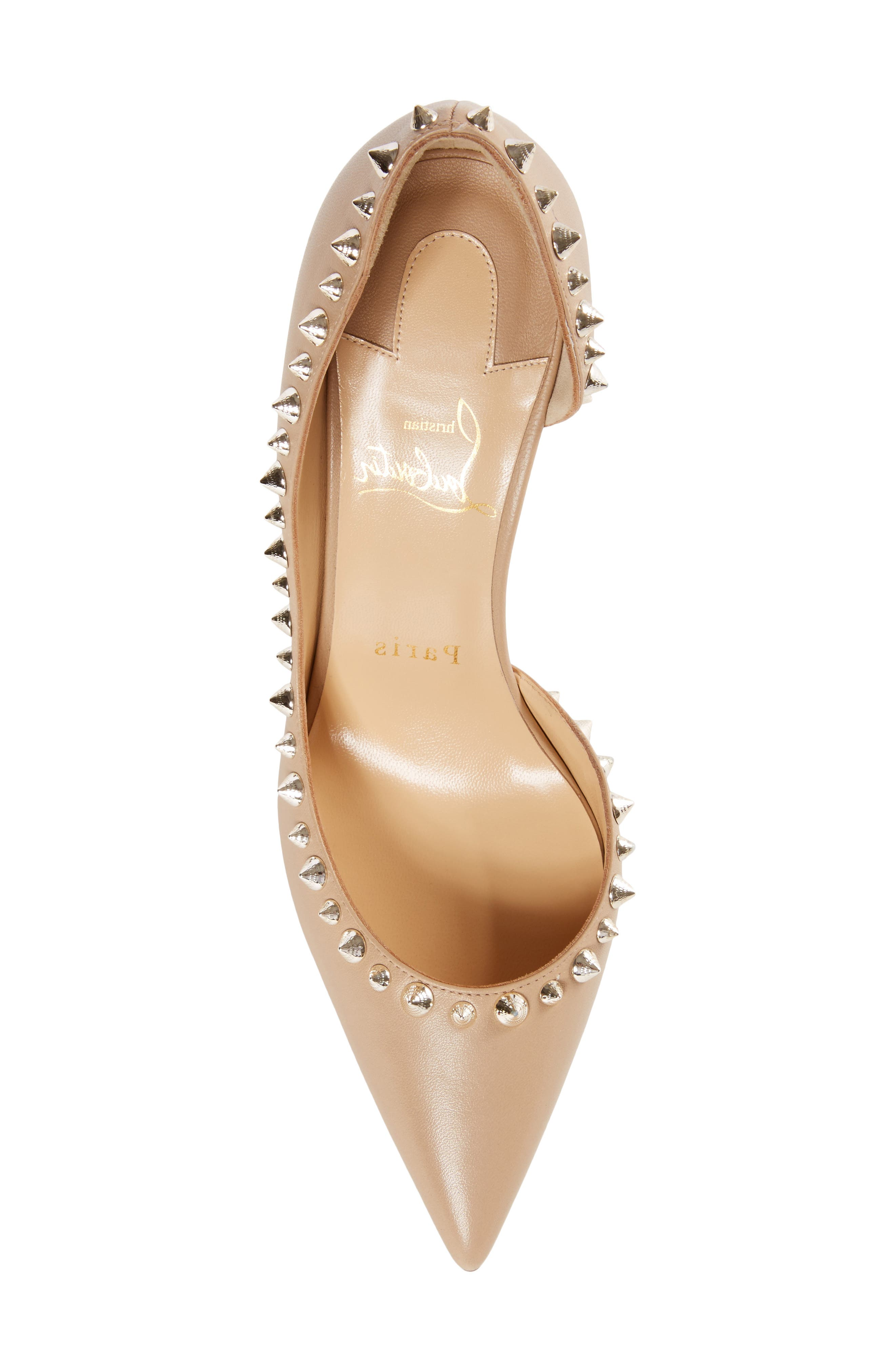 Irishell Studded Half d'Orsay Pump,                             Alternate thumbnail 5, color,                             NUDE/ WHITE GOLD