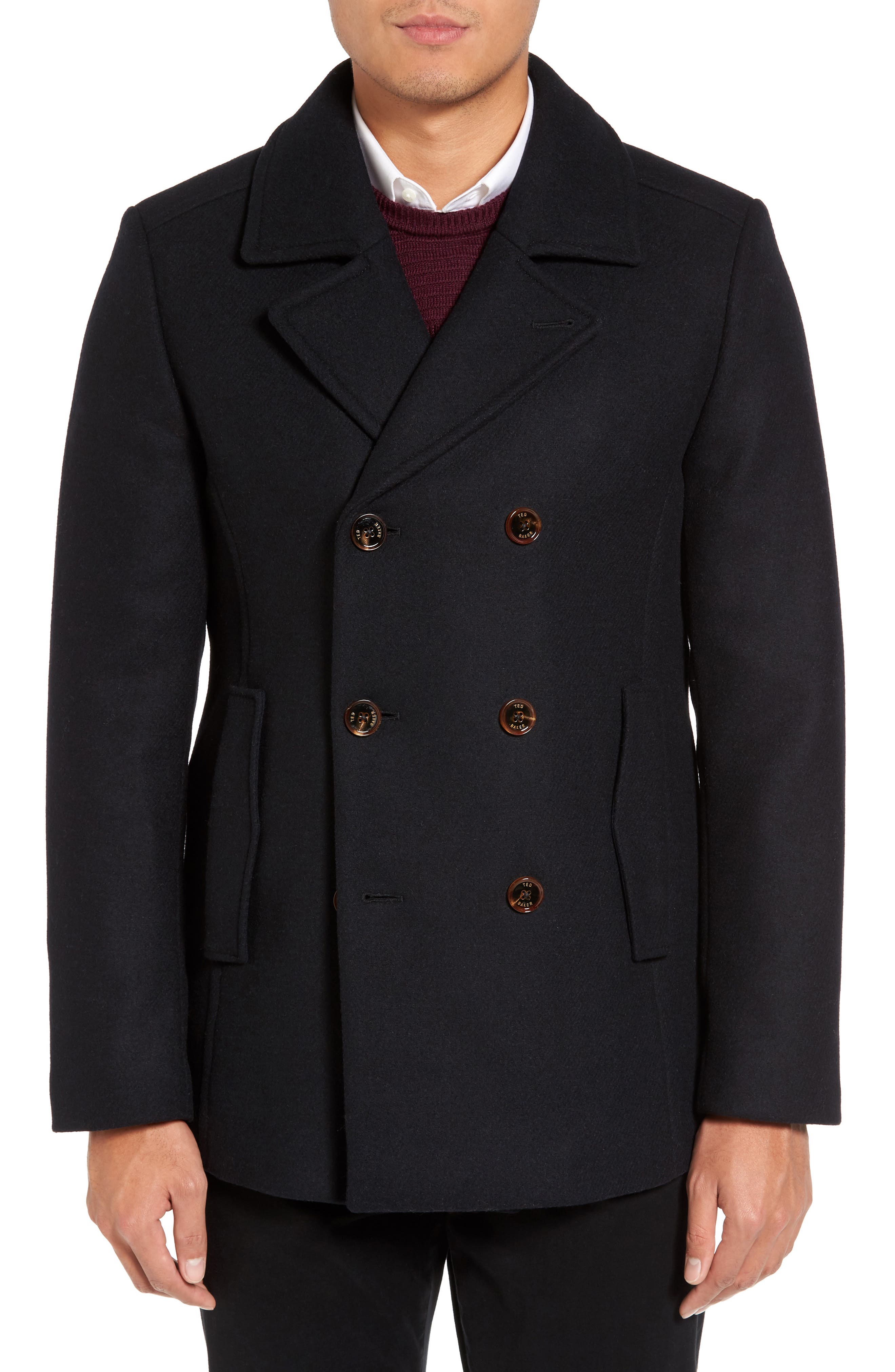 TED BAKER LONDON Wool Blend Peacoat, Main, color, 410