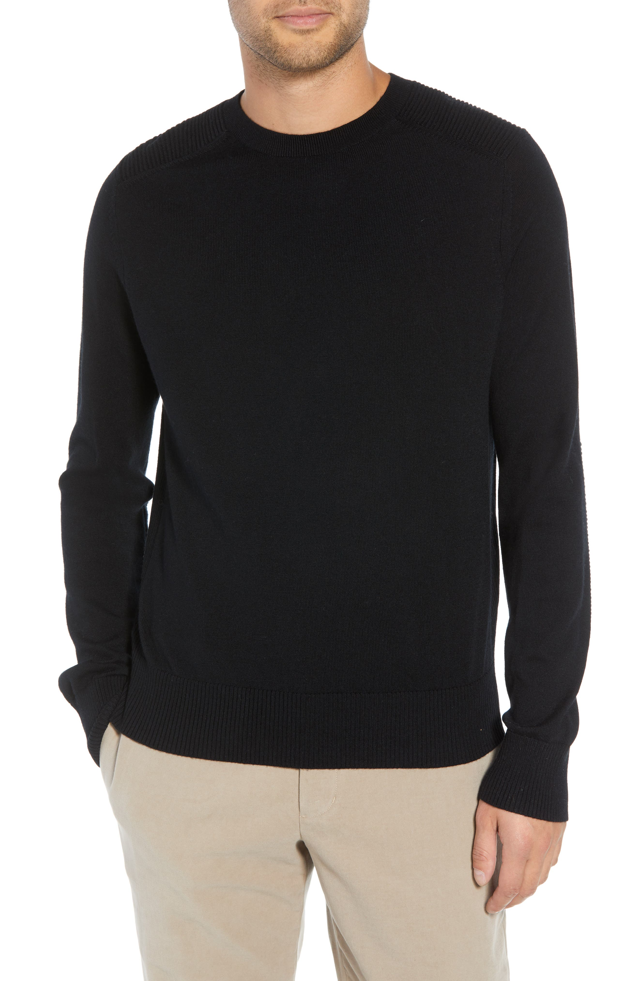 Regular Fit Ottoman Stitch Wool Sweater,                         Main,                         color, BLACK
