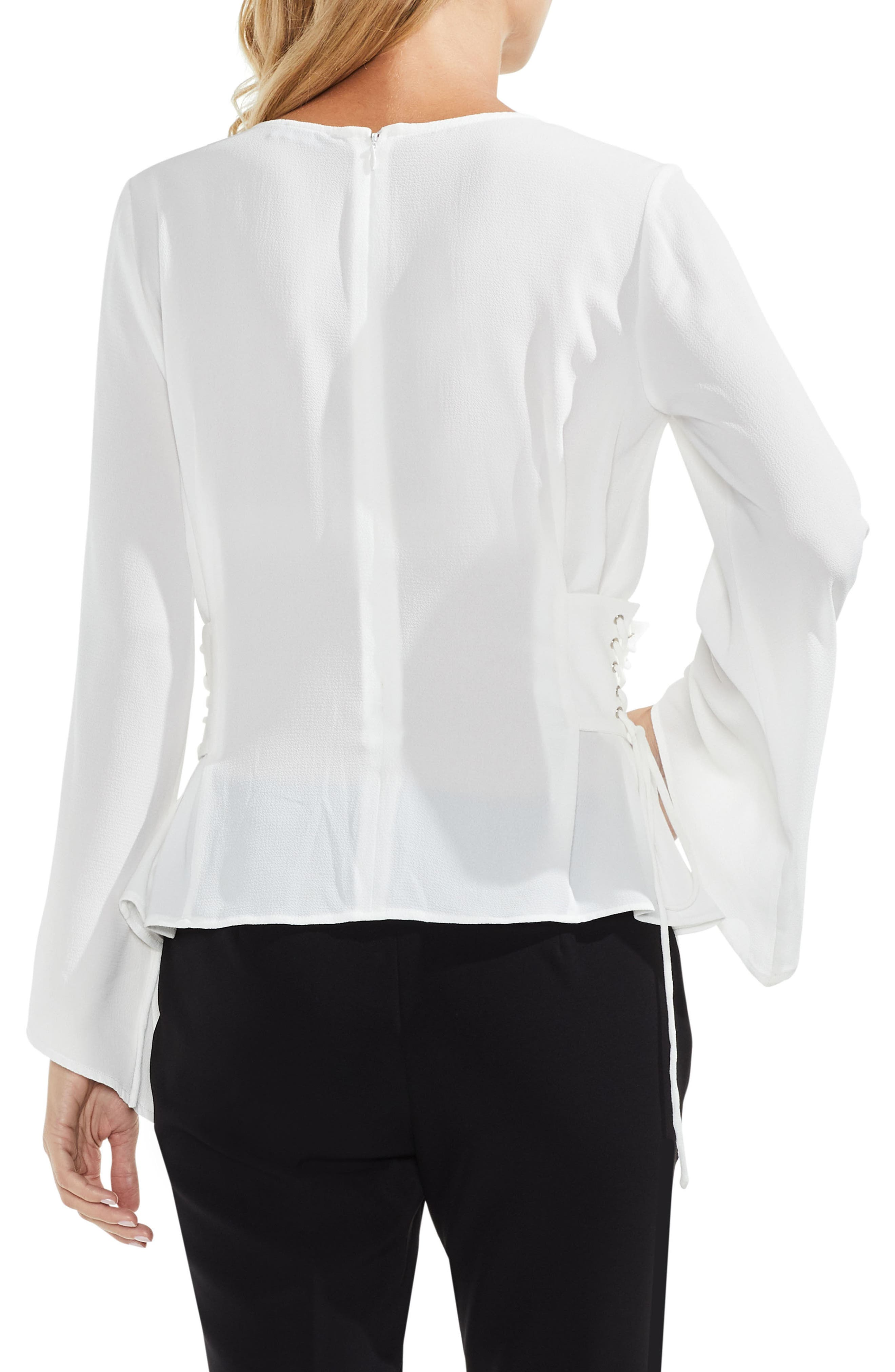 Lace-Up Bell Sleeve Blouse,                             Alternate thumbnail 5, color,