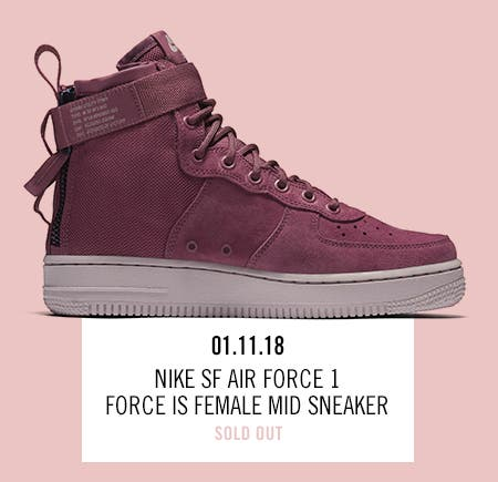 Nordstrom x Nike: new and hot Nike SF Air Force 1 Force Is Female Mid Sneaker.