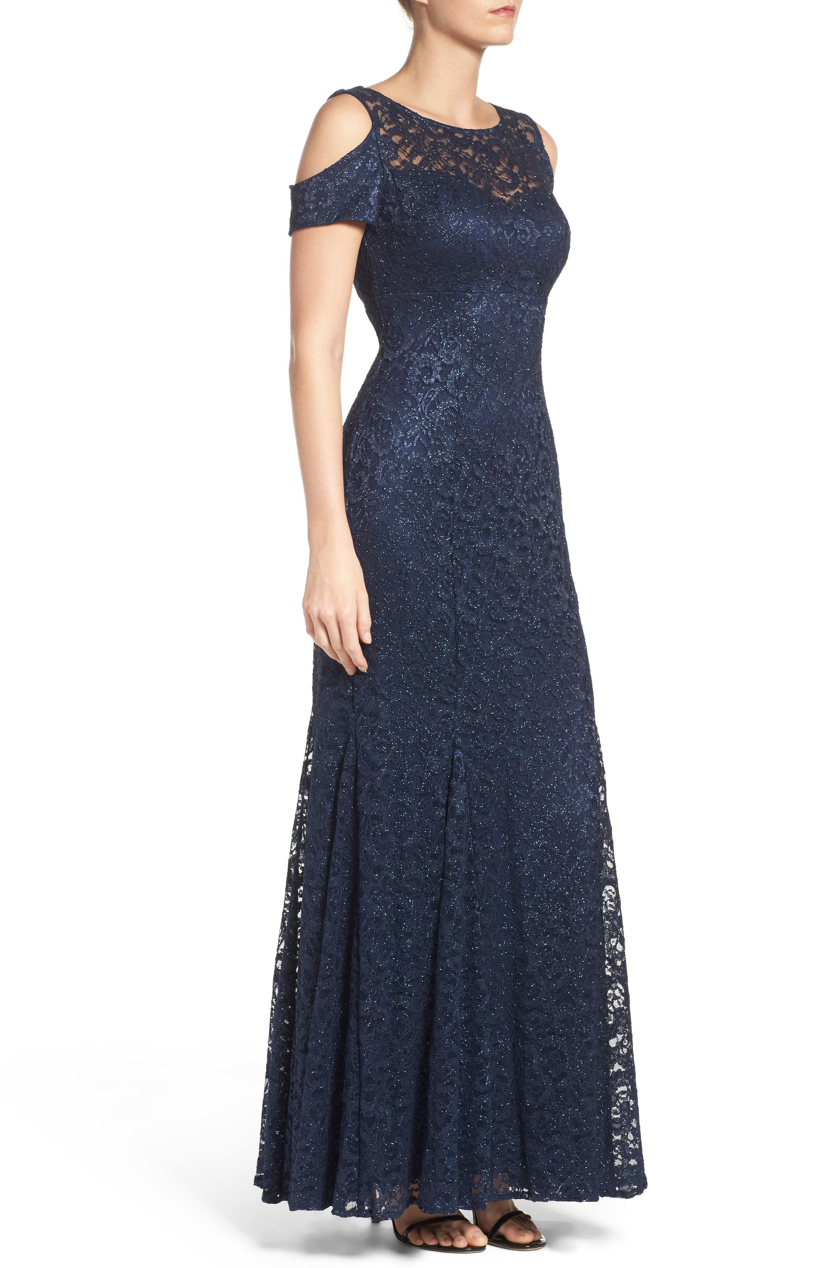 Cold Shoulder Lace Gown,                             Alternate thumbnail 6, color,