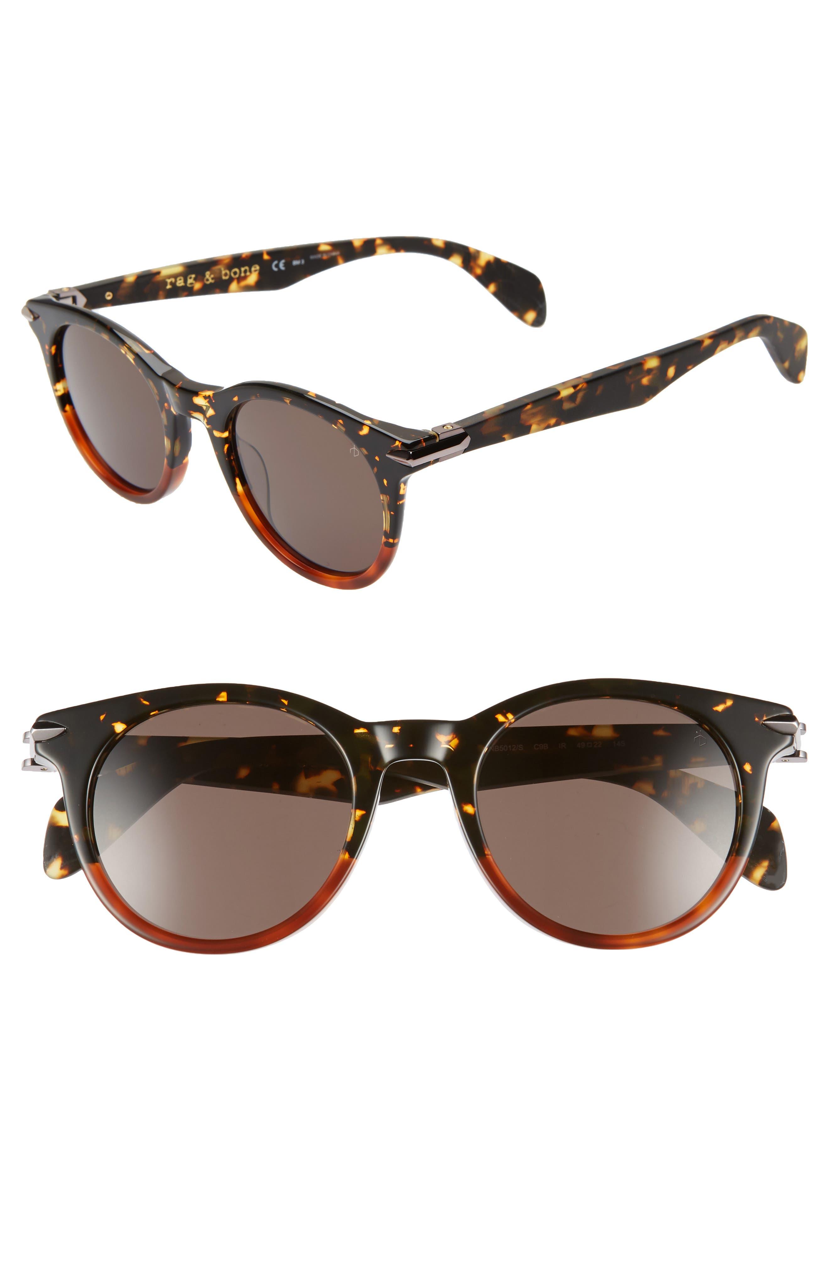 49mm Round Sunglasses,                             Main thumbnail 1, color,                             BLACK/ HAVANA HONEY