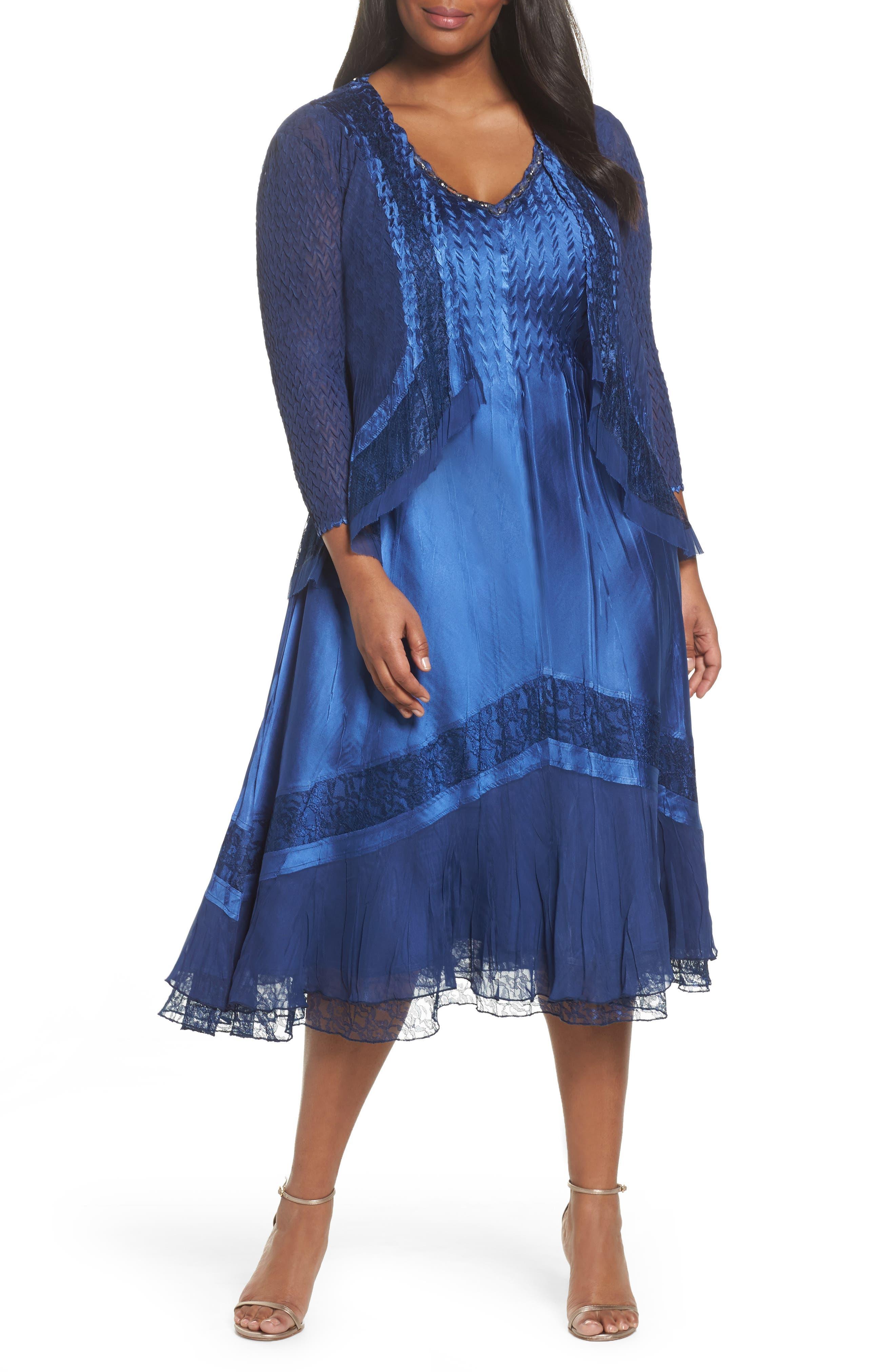 Charmeuse & Chiffon Jacket Dress,                         Main,                         color, 412