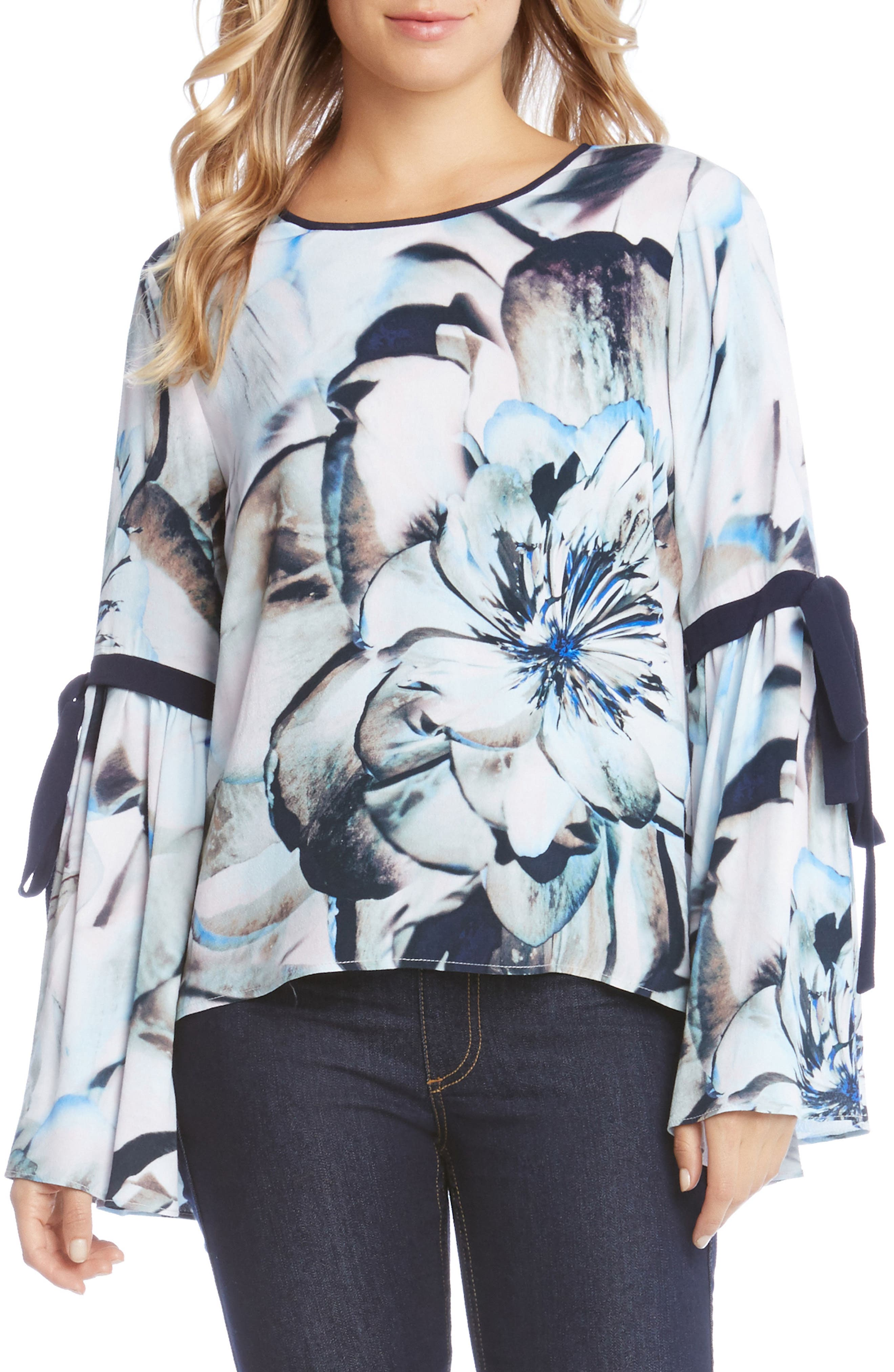 Tie Sleeve Floral Print Top,                             Main thumbnail 1, color,                             460