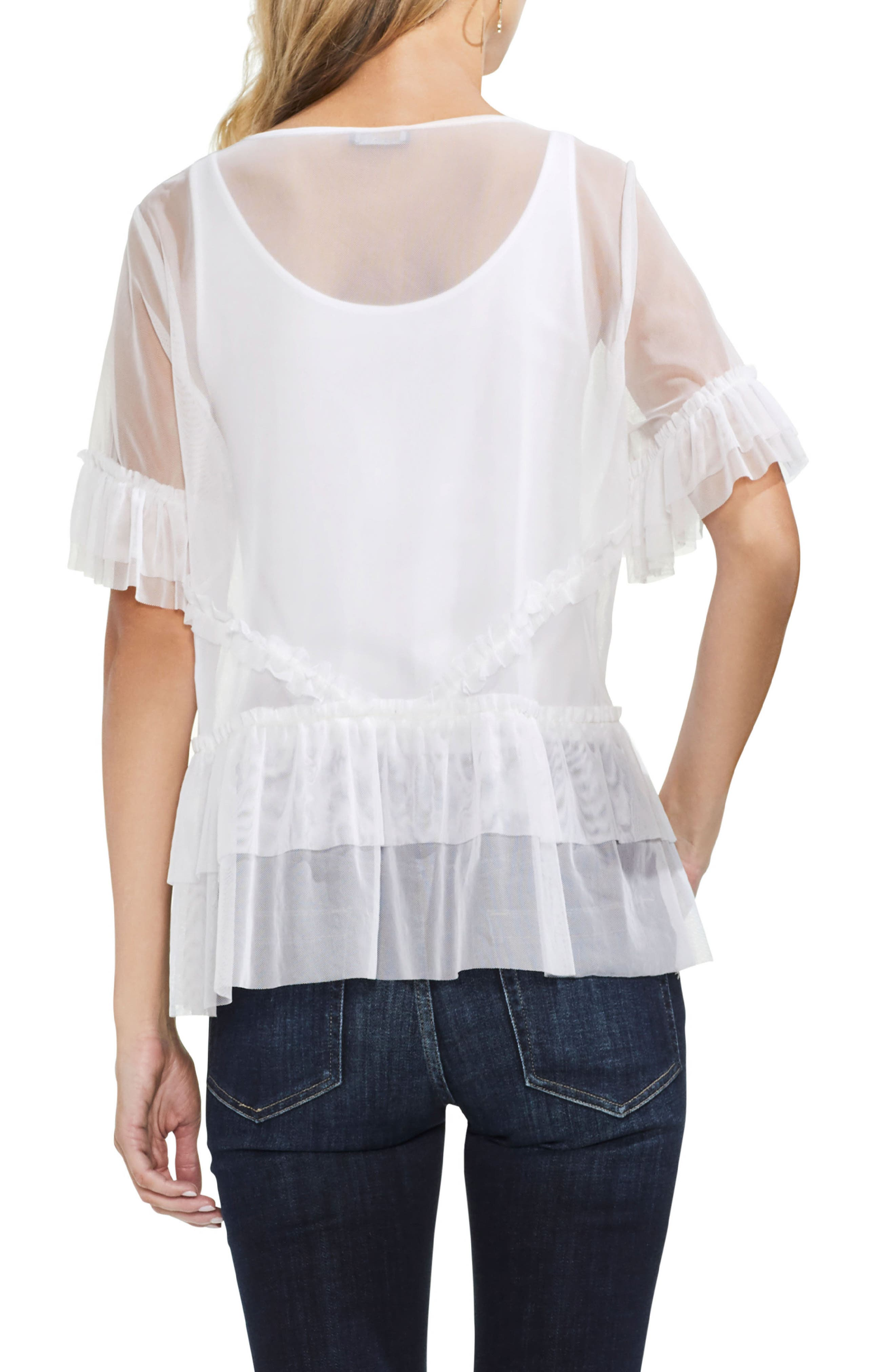 Tiered Ruffle Mesh Blouse,                             Alternate thumbnail 4, color,