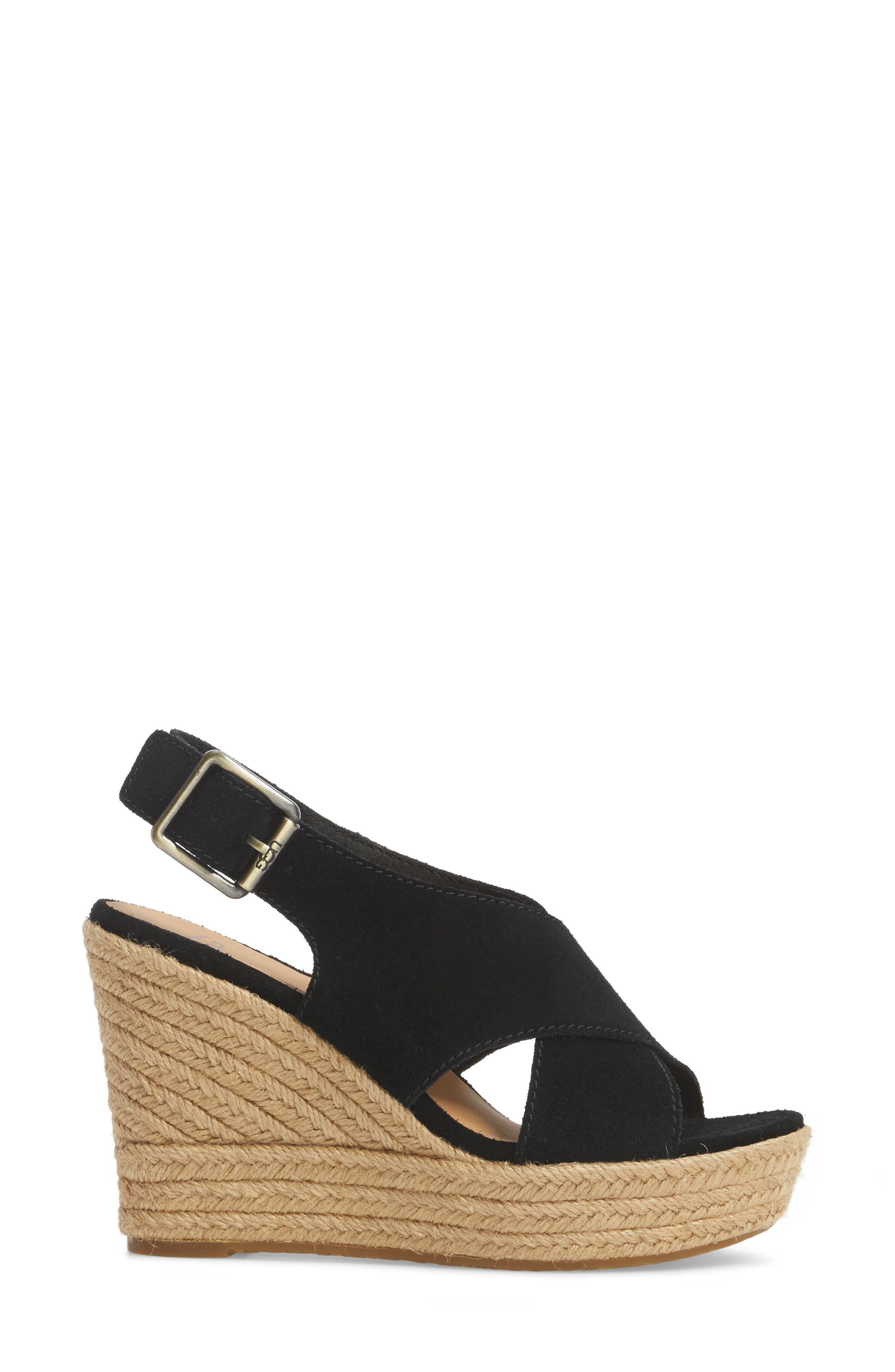 Harlow Platform Wedge Sandal,                             Alternate thumbnail 3, color,                             001