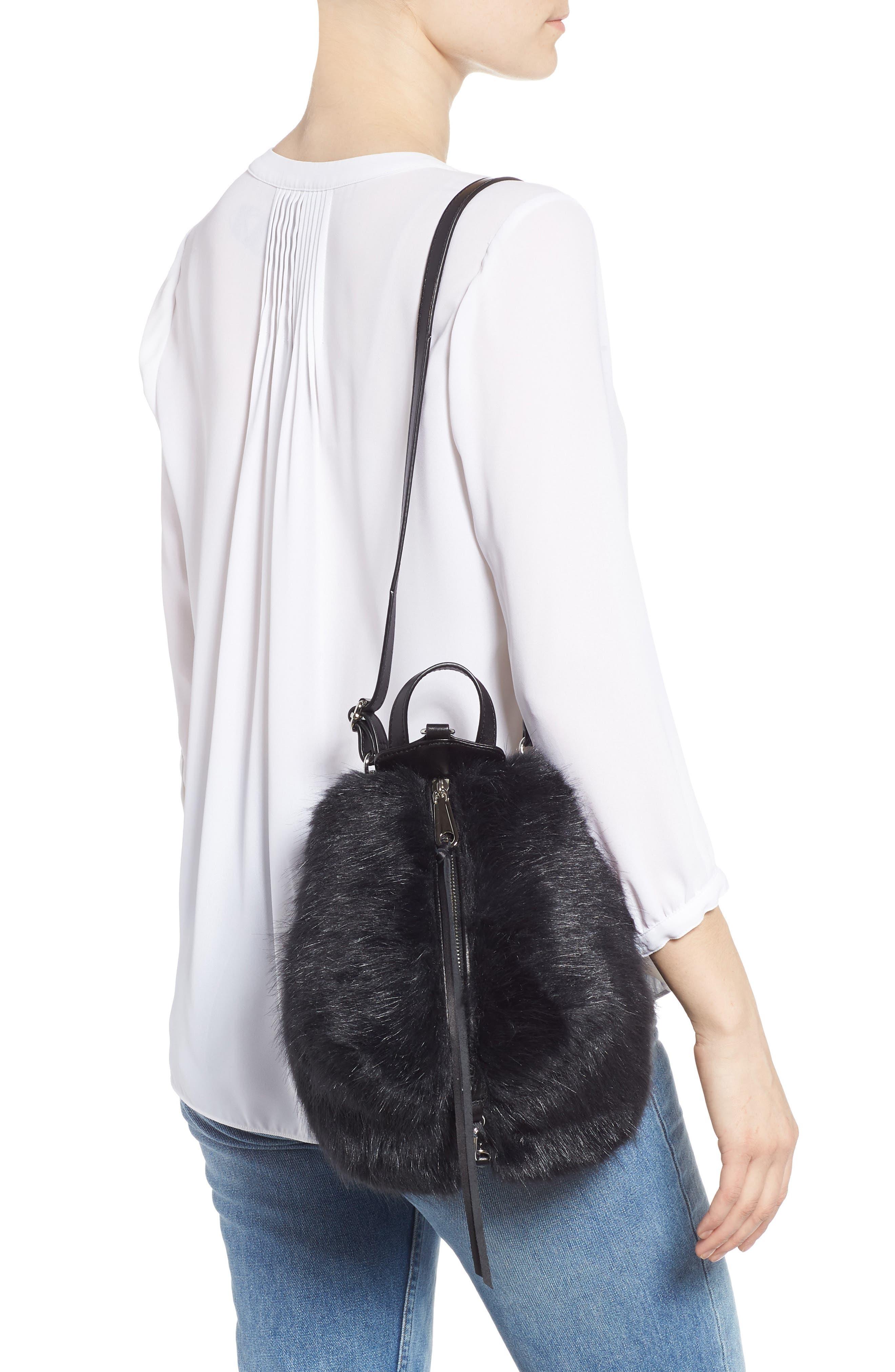 Mini Julian Faux Fur Backpack,                             Alternate thumbnail 3, color,                             BLACK