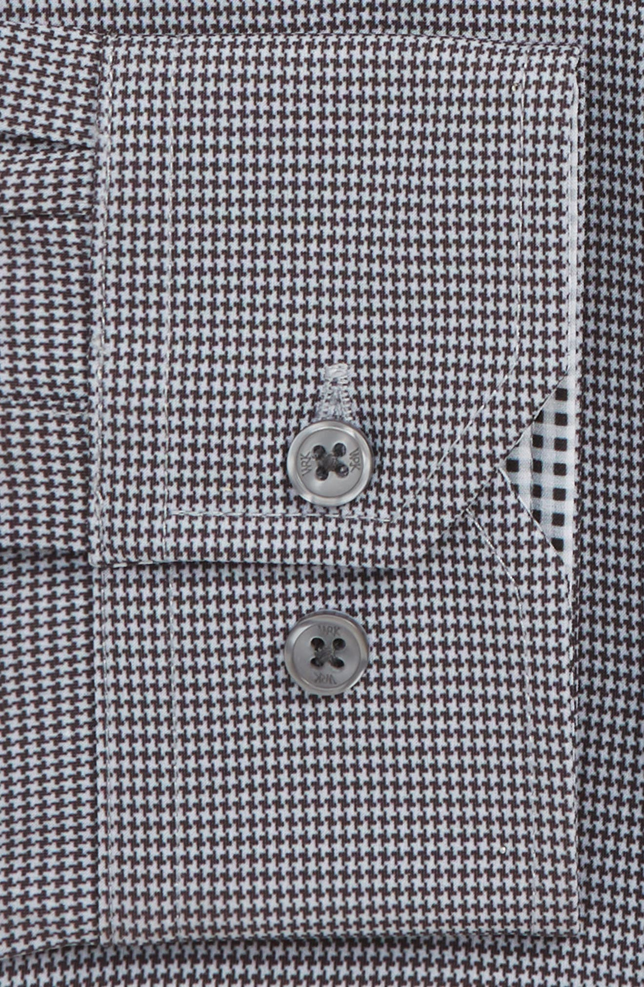 Trim Fit 4-Way Stretch Houndstooth Dress Shirt,                             Alternate thumbnail 6, color,                             BLACK