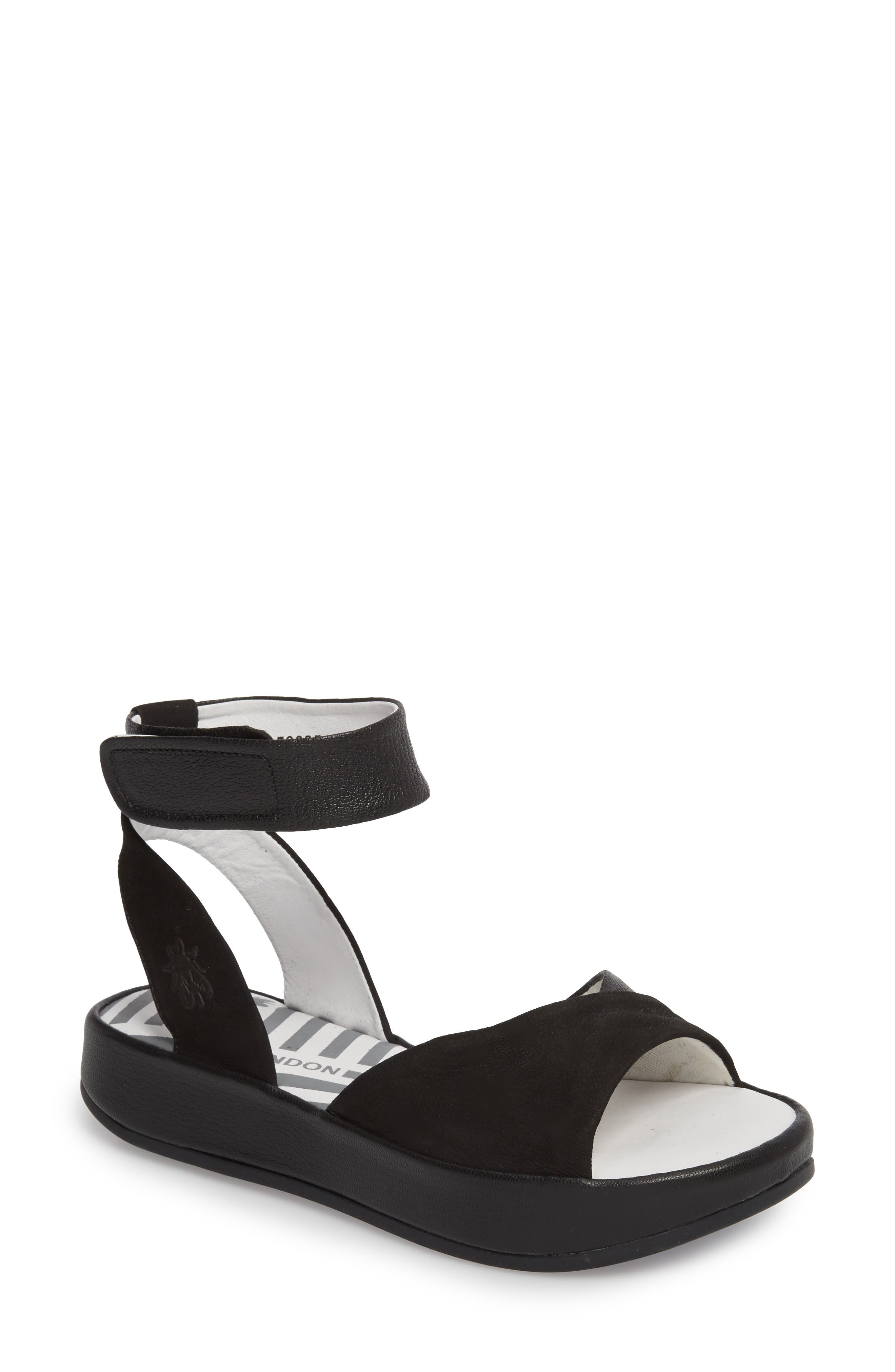 Bibb Sandal,                         Main,                         color, BLACK MIX LEATHER