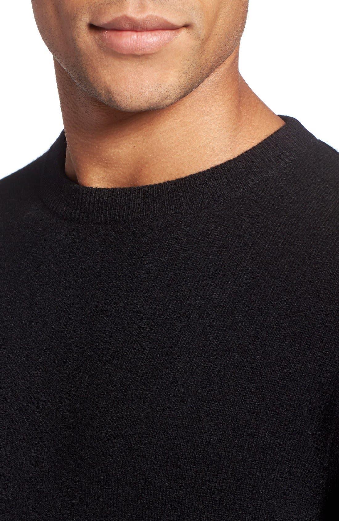 Cashmere Crewneck Sweater,                             Alternate thumbnail 4, color,                             BLACK CAVIAR