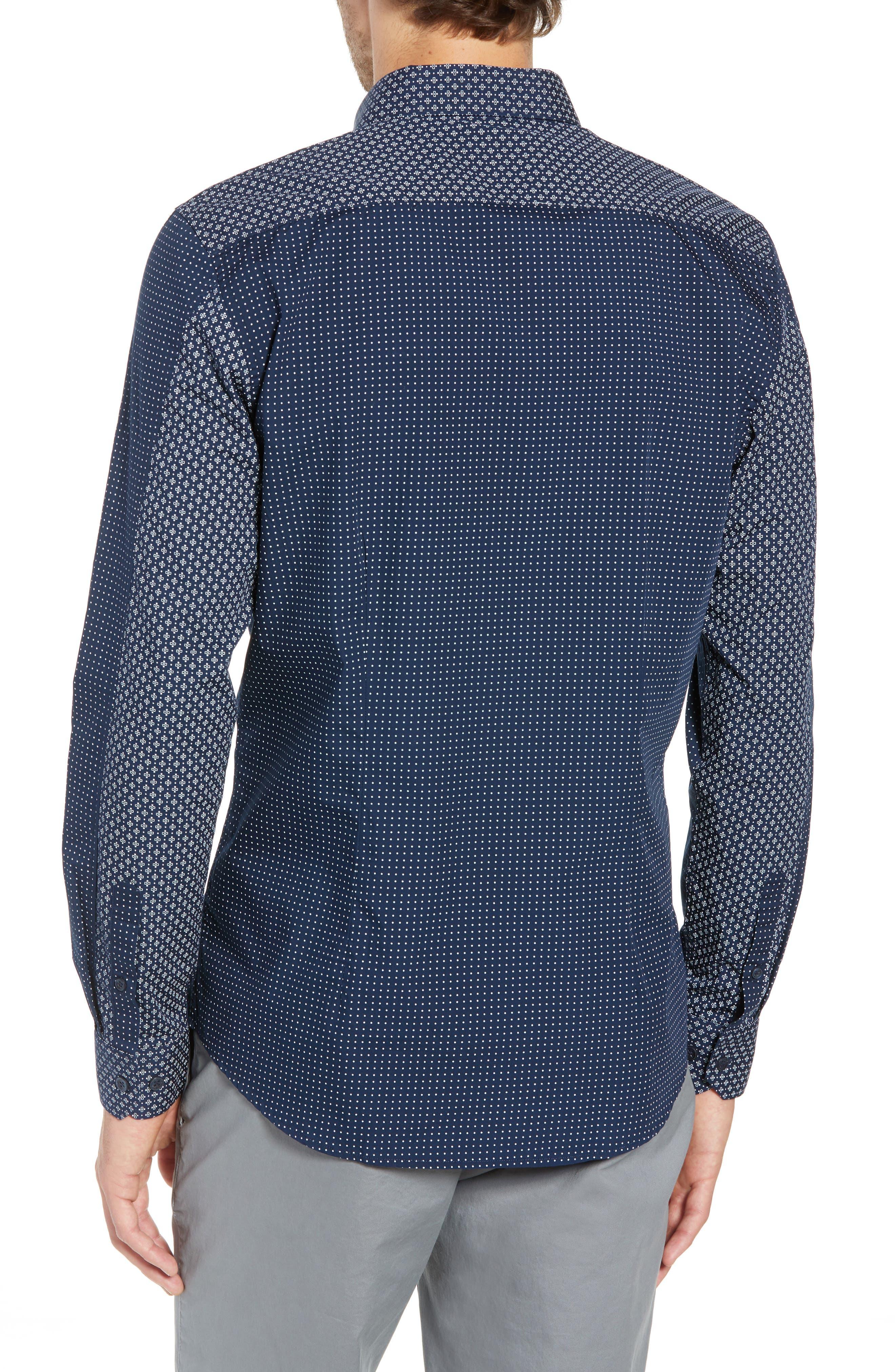 Trim Fit Block Print Sport Shirt,                             Alternate thumbnail 3, color,                             400