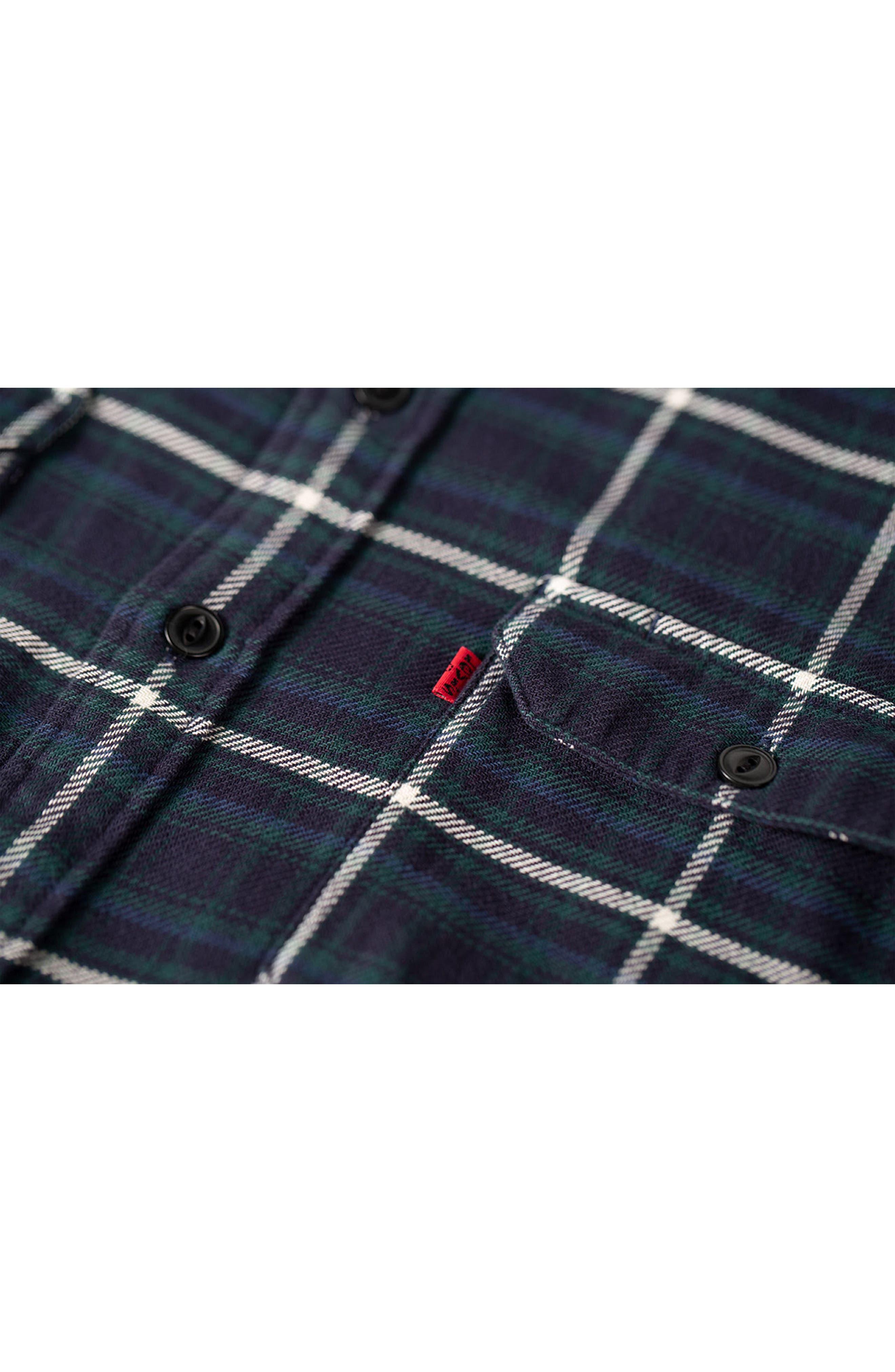 x Justin Timberlake Slim Fit Flannel Worker Shirt,                             Alternate thumbnail 8, color,                             HALLET NIGHT SKY