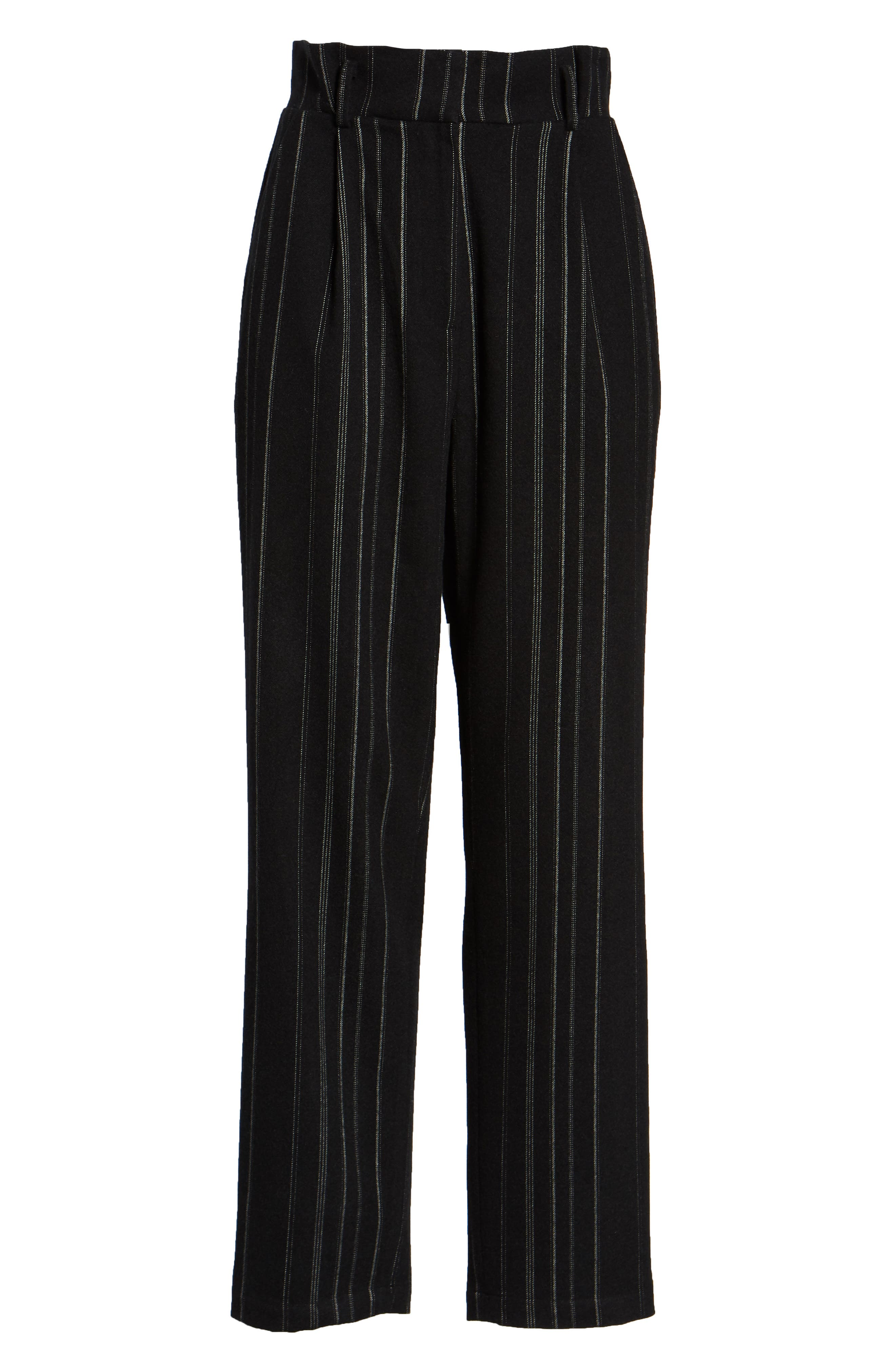 High Rise Belted Paperbag Pants,                             Alternate thumbnail 8, color,                             BLACK MIXED STRIPE