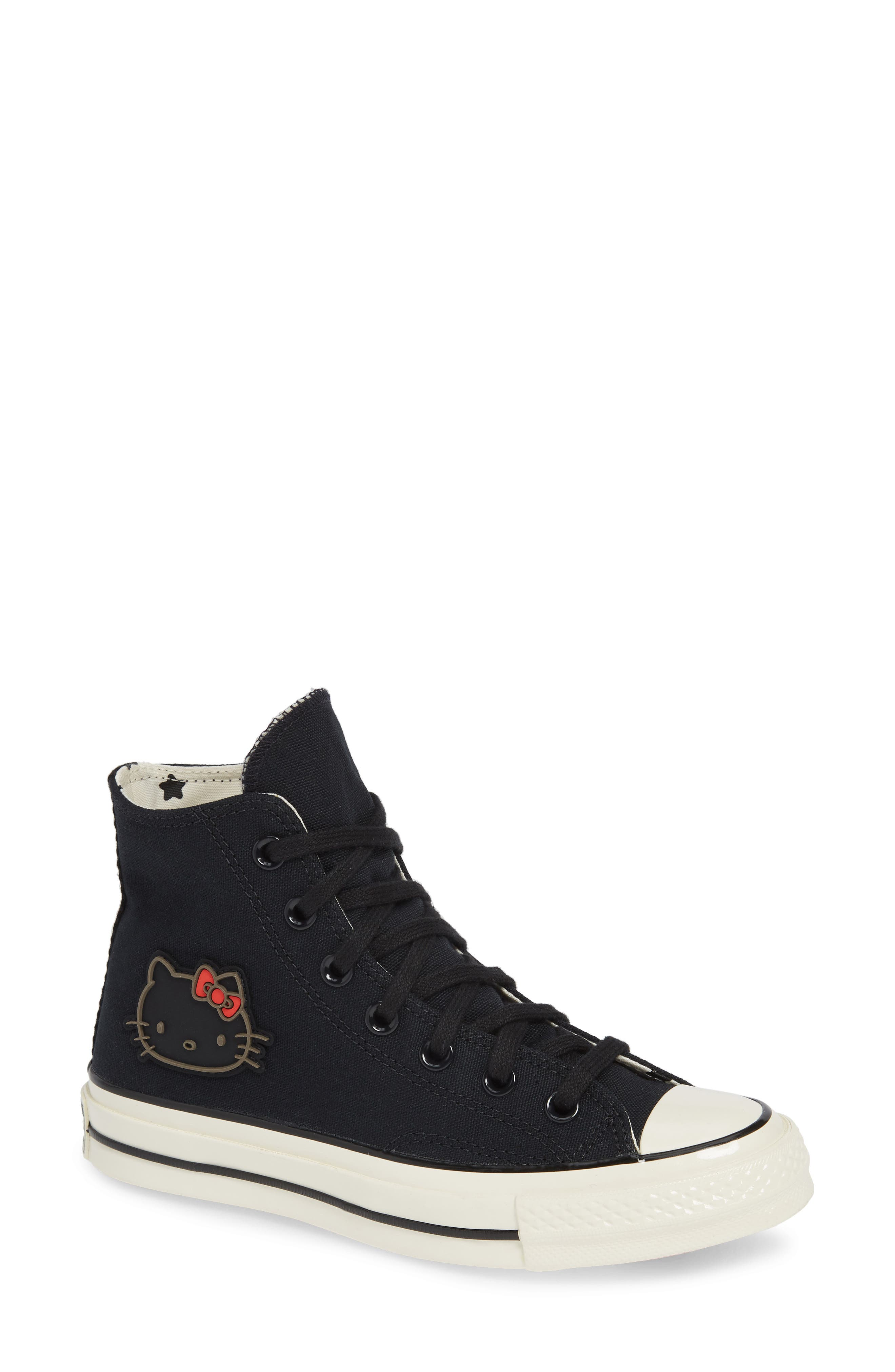 x Hello Kitty<sup>®</sup> Chuck Taylor<sup>®</sup> All Star<sup>®</sup> CT 70 High Top Sneaker,                             Main thumbnail 1, color,                             CONVERSE BLACK