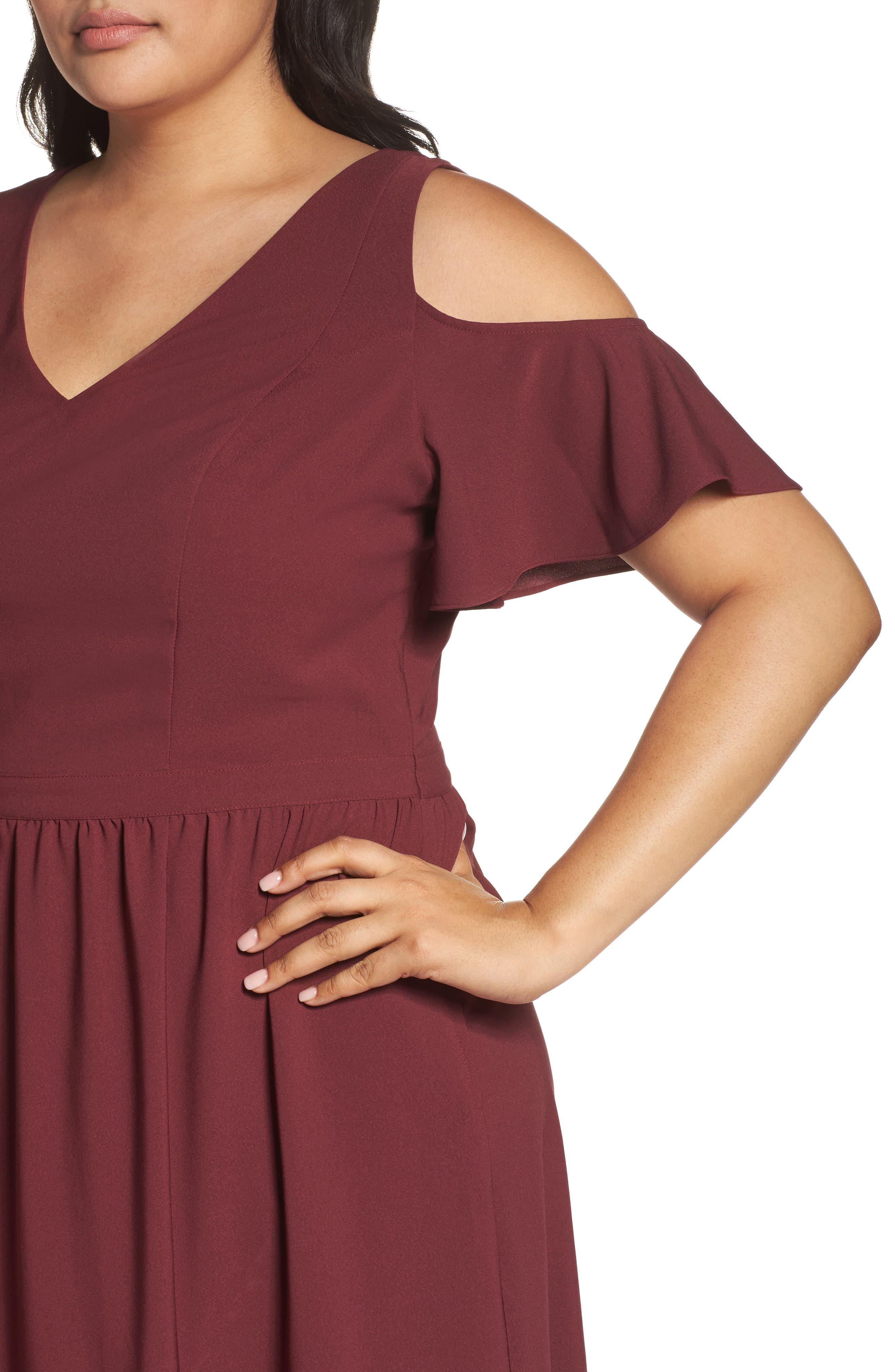 Cold Shoulder Midi Dress,                             Alternate thumbnail 4, color,                             930