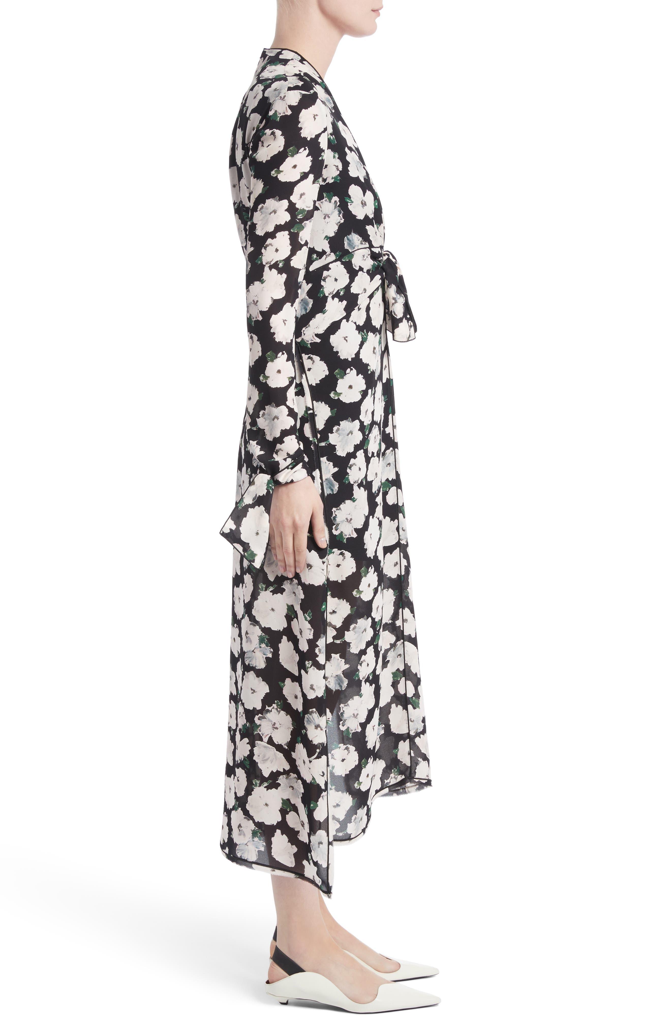 Print Silk Midi Dress,                             Alternate thumbnail 3, color,                             001