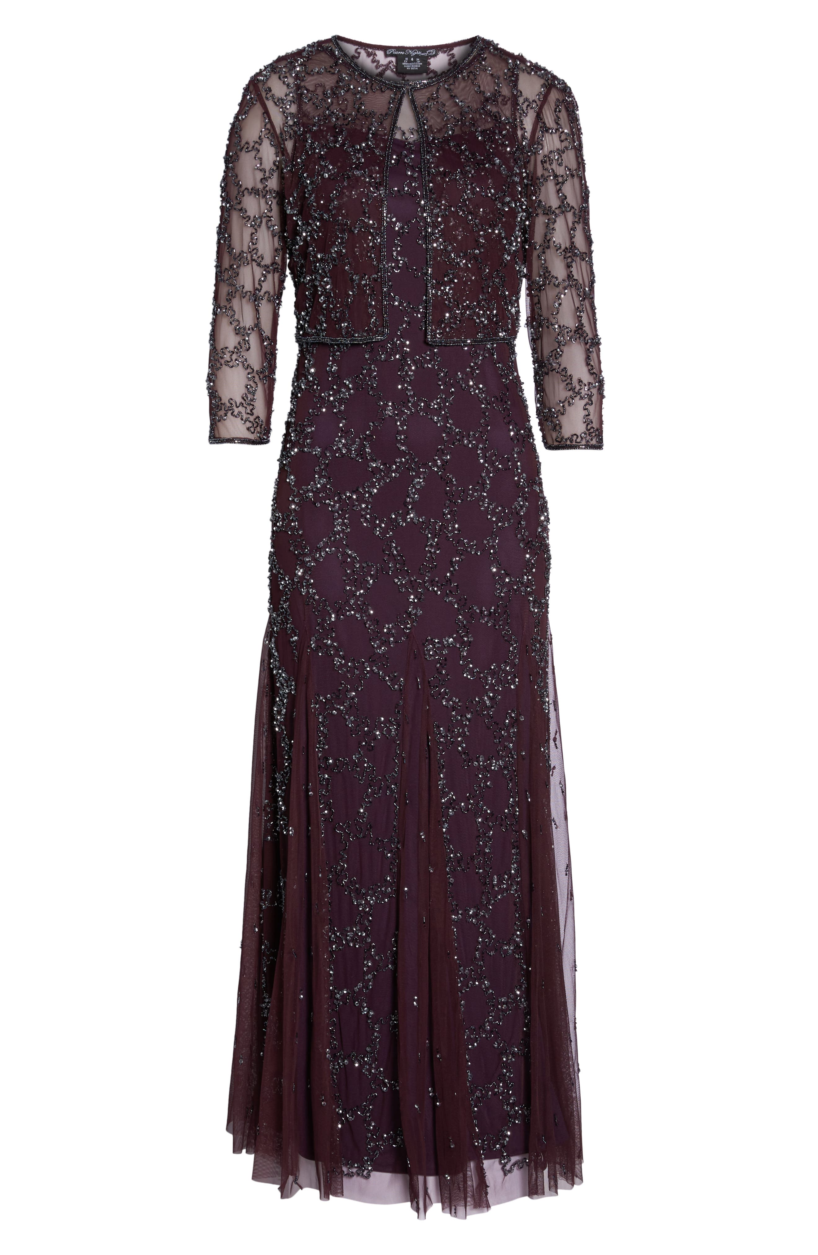 Sequin Mesh Gown with Jacket,                             Alternate thumbnail 6, color,                             502