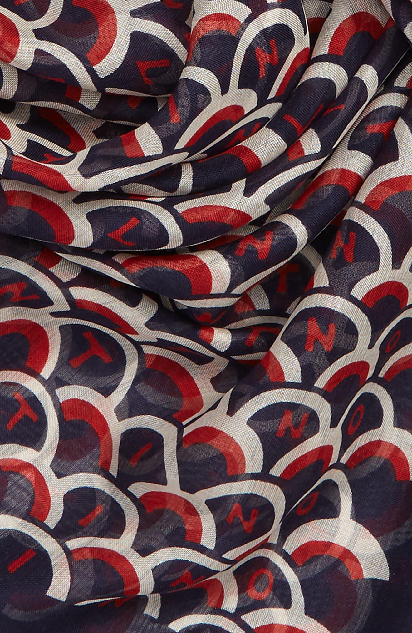 VALENTINO,                             Scale Print Silk Shawl,                             Alternate thumbnail 3, color,                             PURE BLUE/ MATTONE-AVORIO