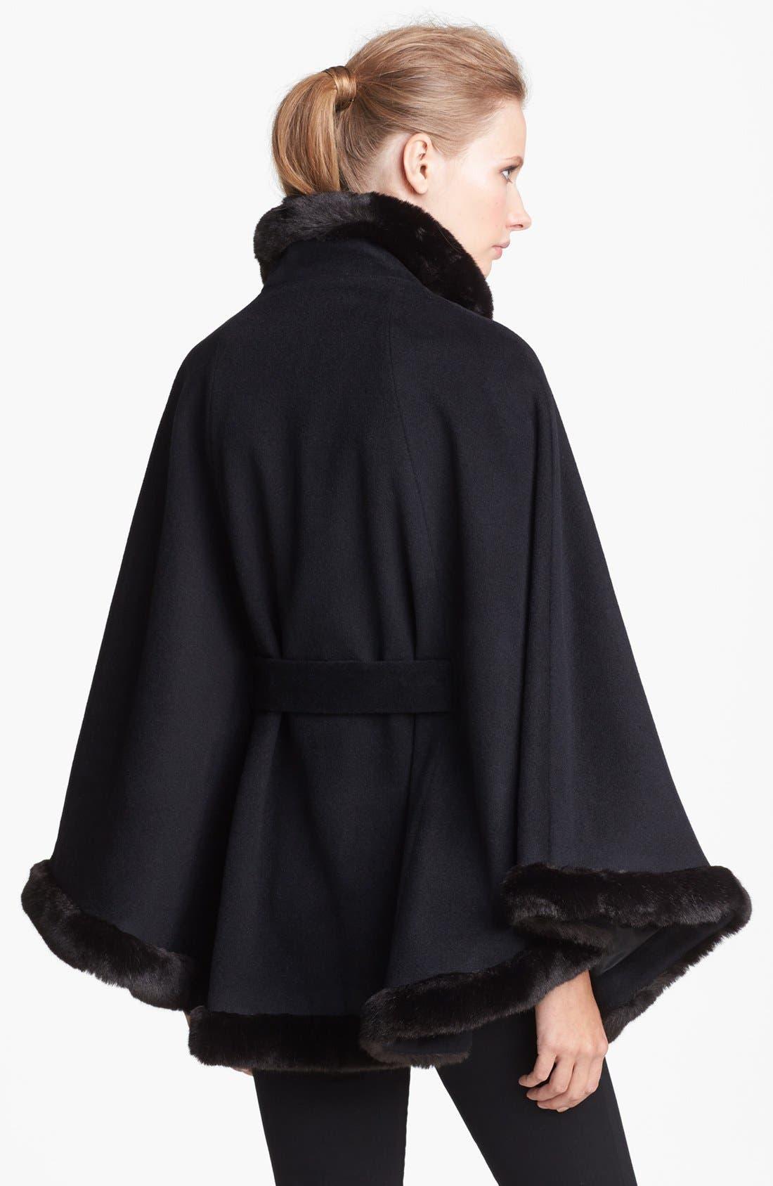Faux Fur Trim Belted Cape,                             Alternate thumbnail 3, color,                             001