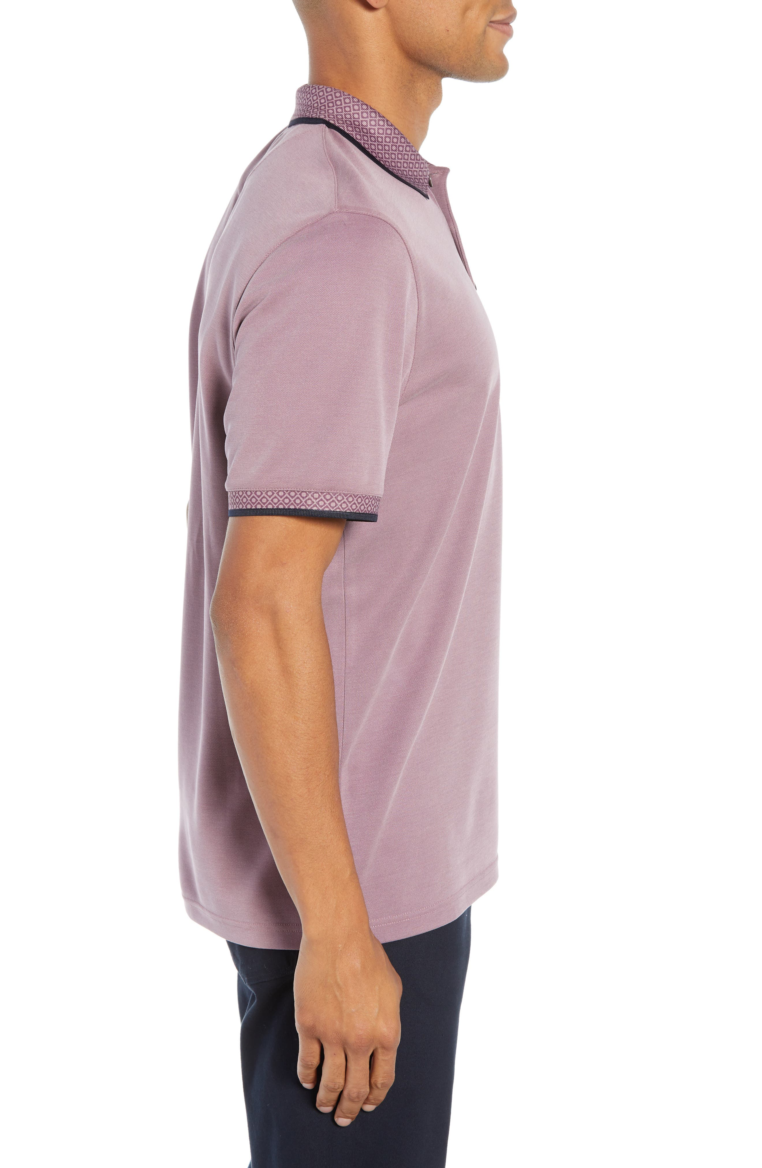 Slim Fit Belver Tipped Polo,                             Alternate thumbnail 3, color,                             PURPLE
