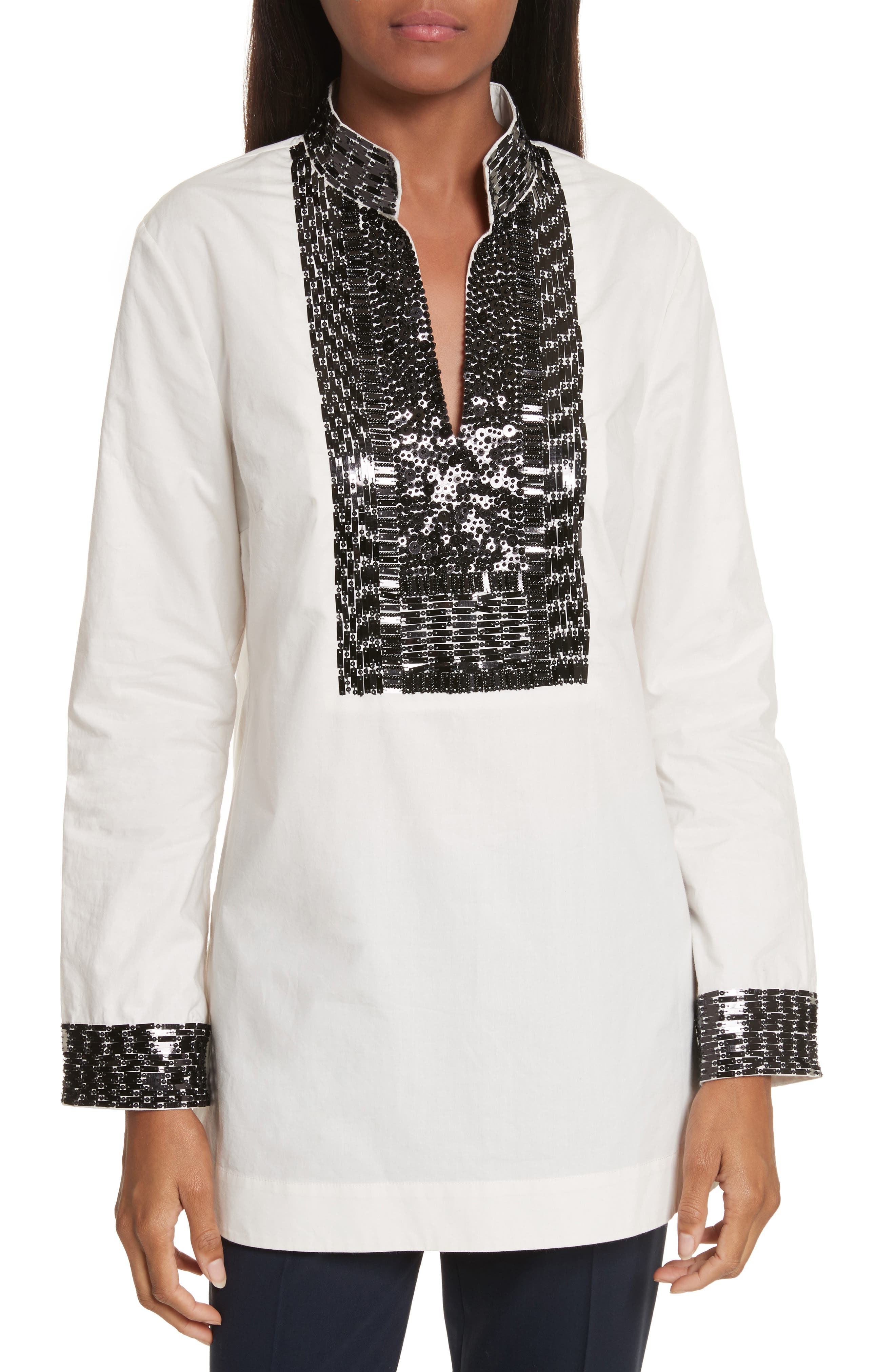 Tory Embellished Cotton Tunic,                         Main,                         color, 904