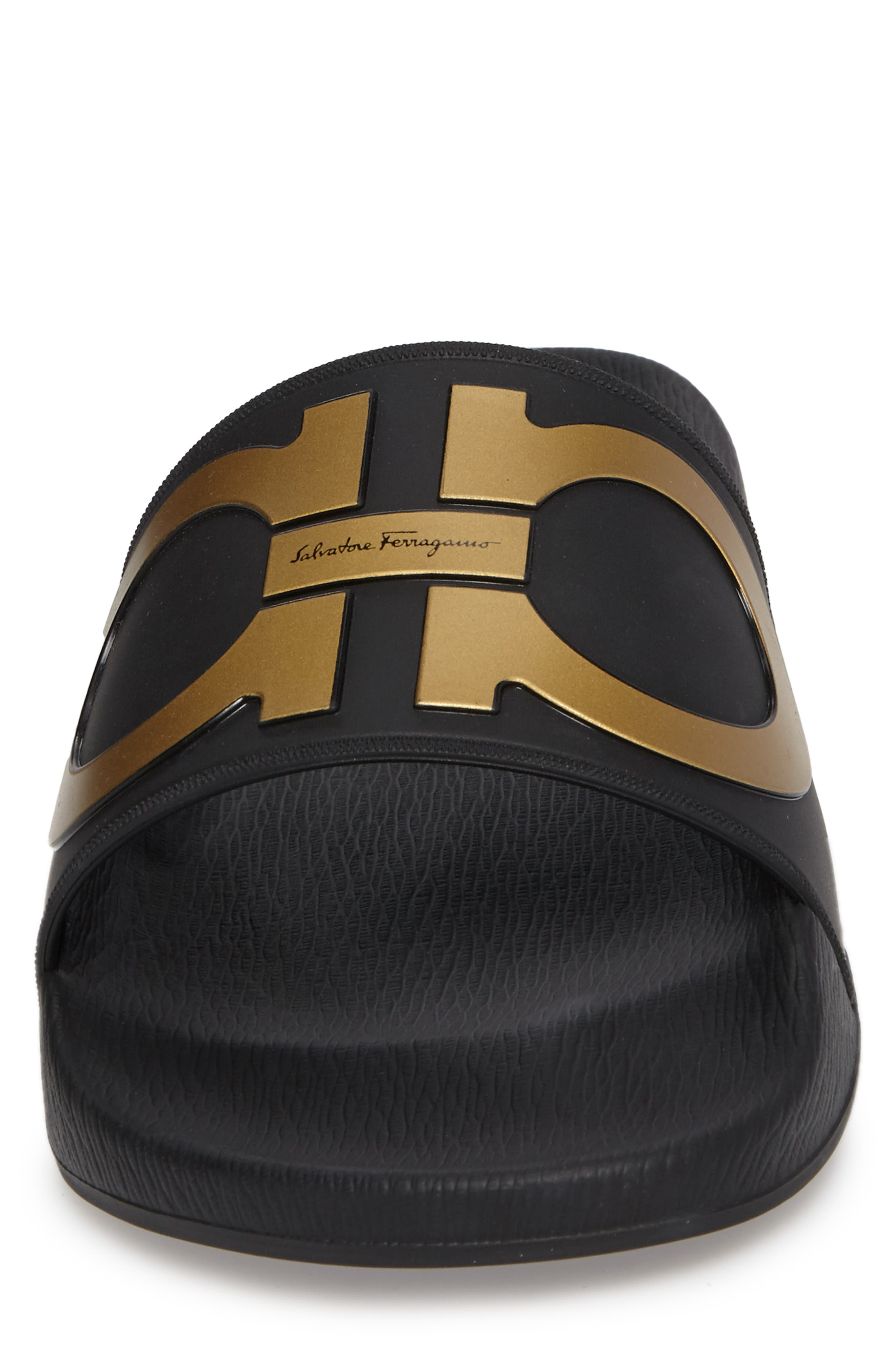Groove 2 Slide Sandal,                             Alternate thumbnail 4, color,                             BLACK/GOLD