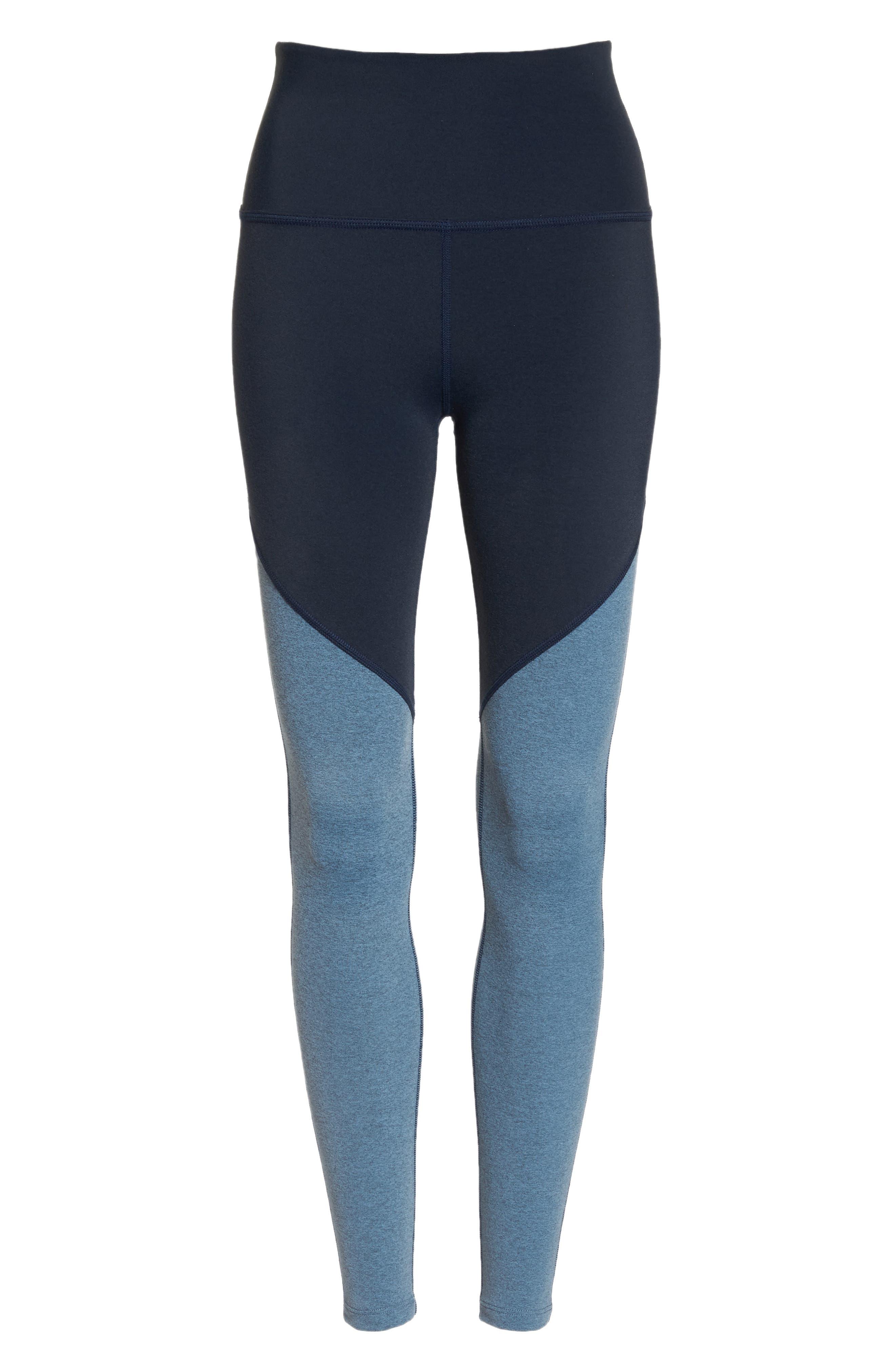 Angled High Waist Leggings,                             Alternate thumbnail 7, color,                             NOCTURNAL NAVY/ LIGHT BLUE
