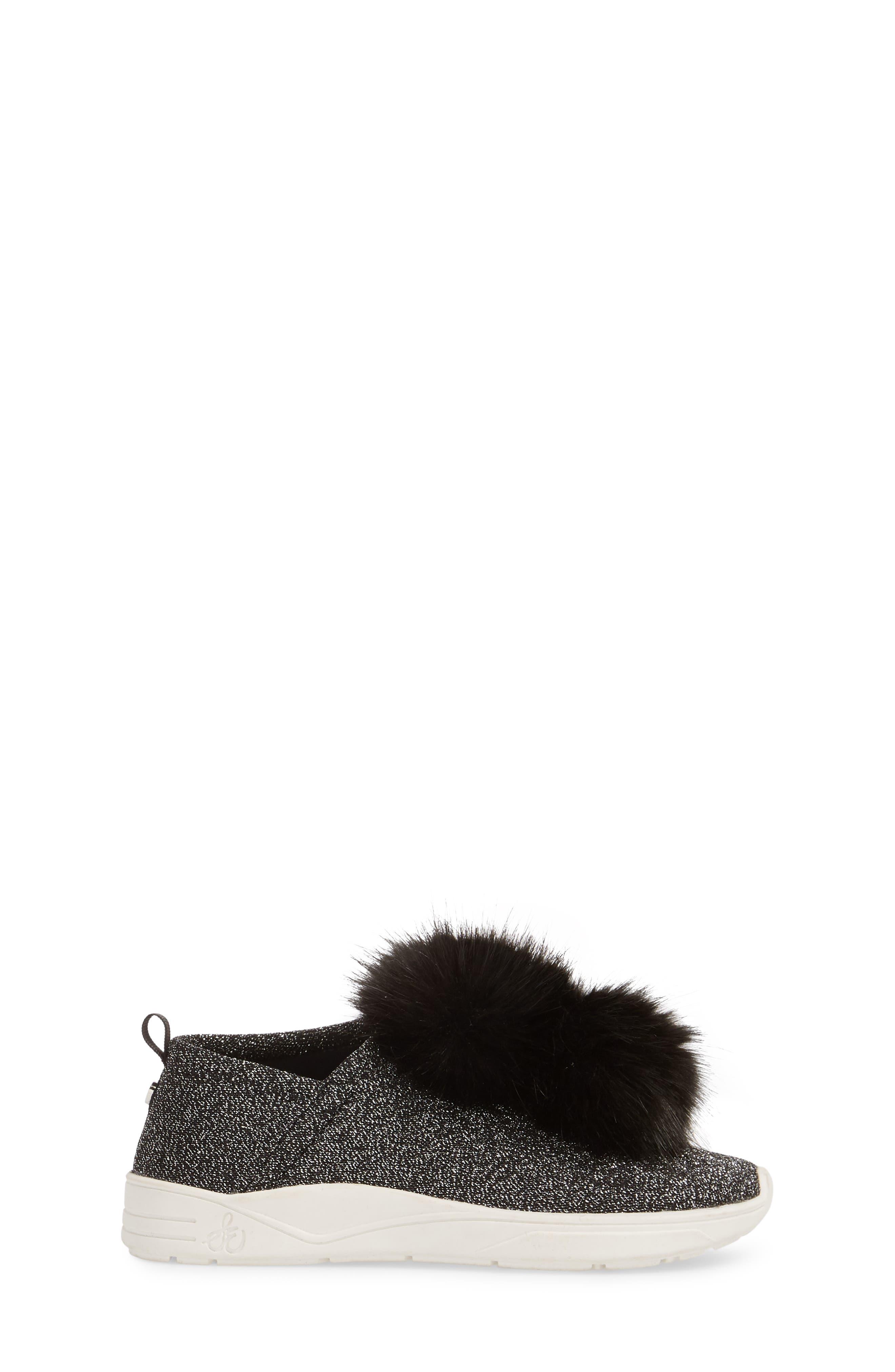 Ariana Pom Glitter Sneaker,                             Alternate thumbnail 3, color,                             BLACK SHIMMER