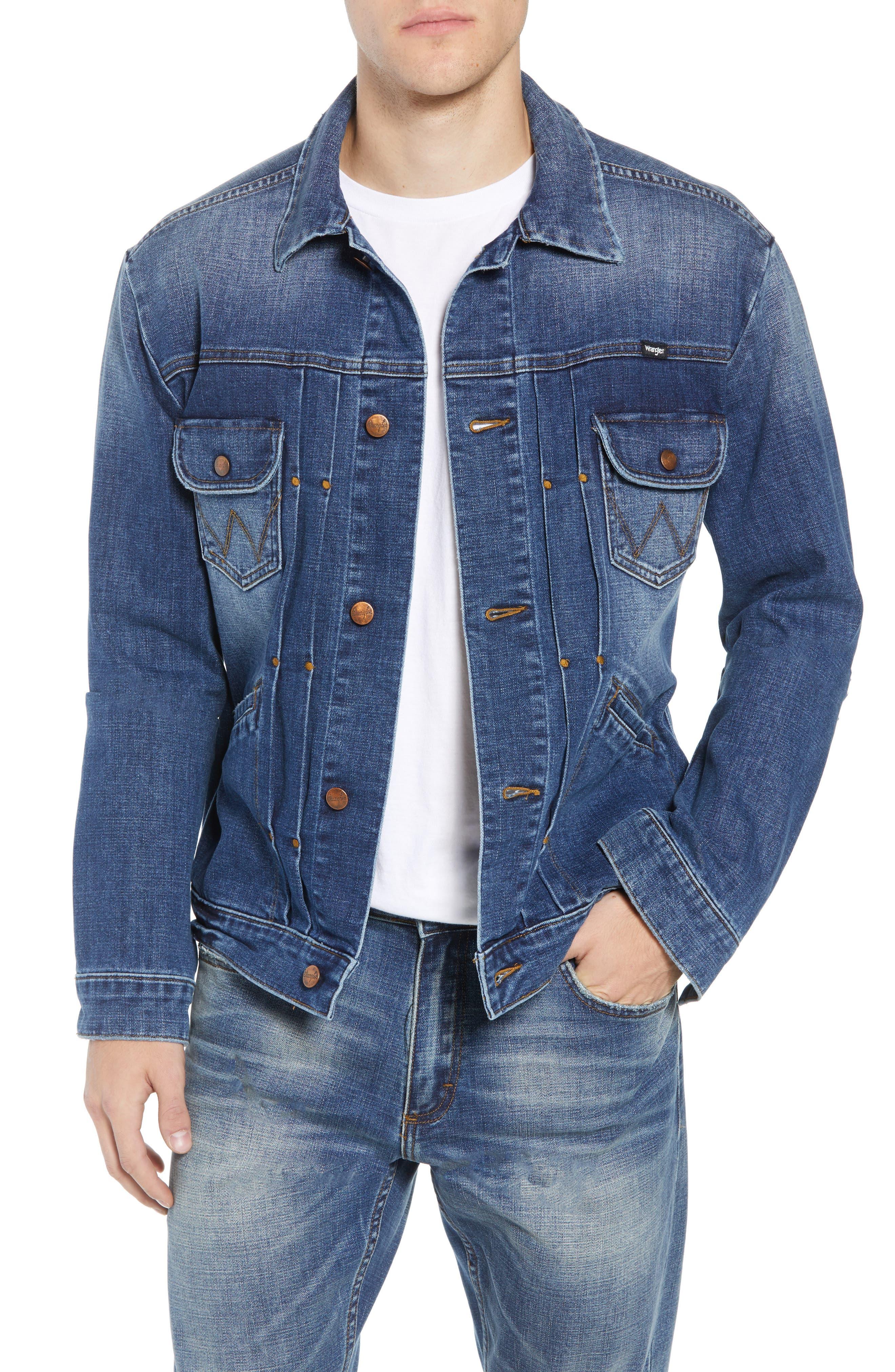 Heritage Pleated Denim Jacket,                         Main,                         color, MID WASH
