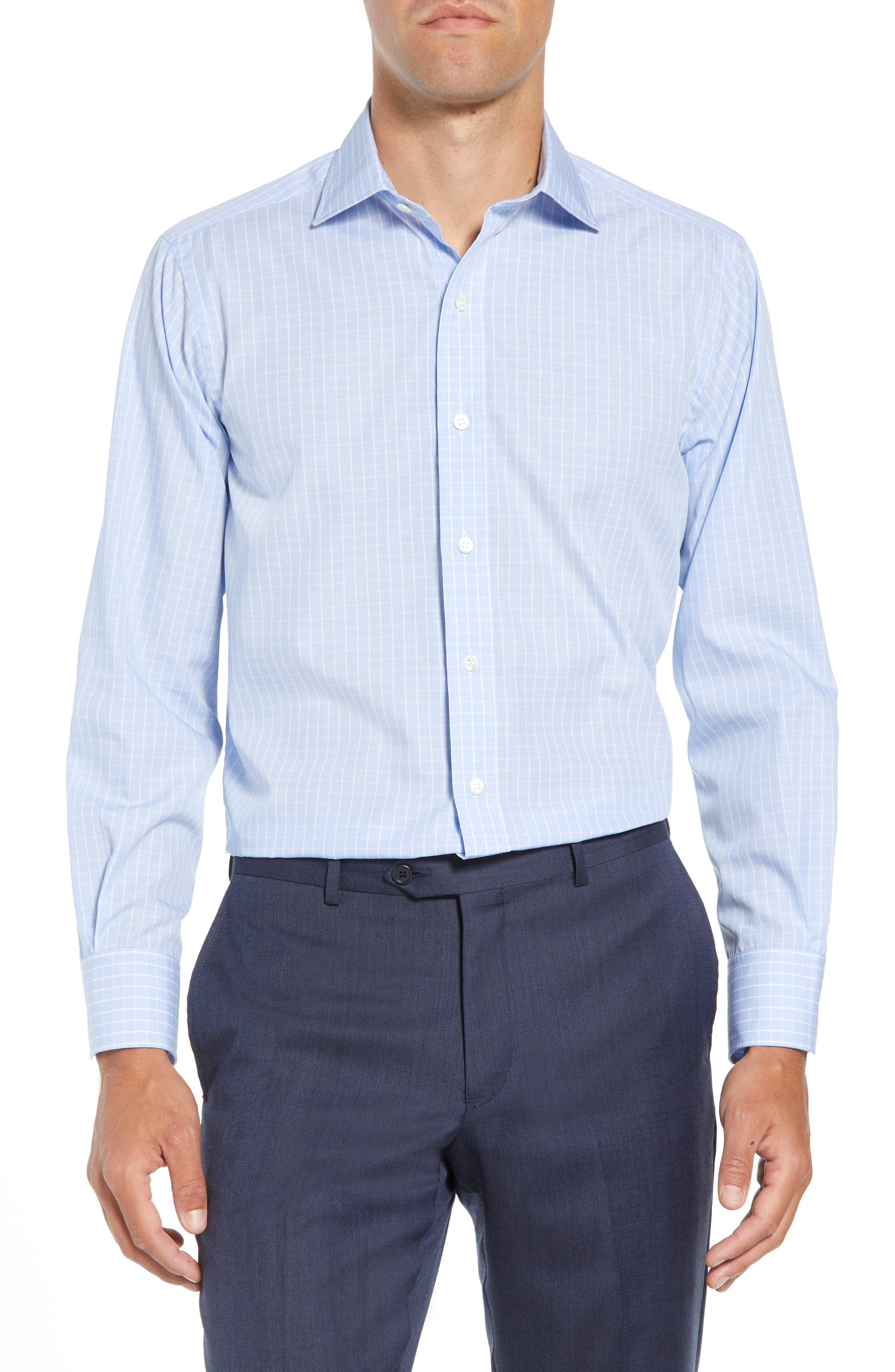 McBride Trim Fit Check Dress Shirt,                         Main,                         color, BLUE