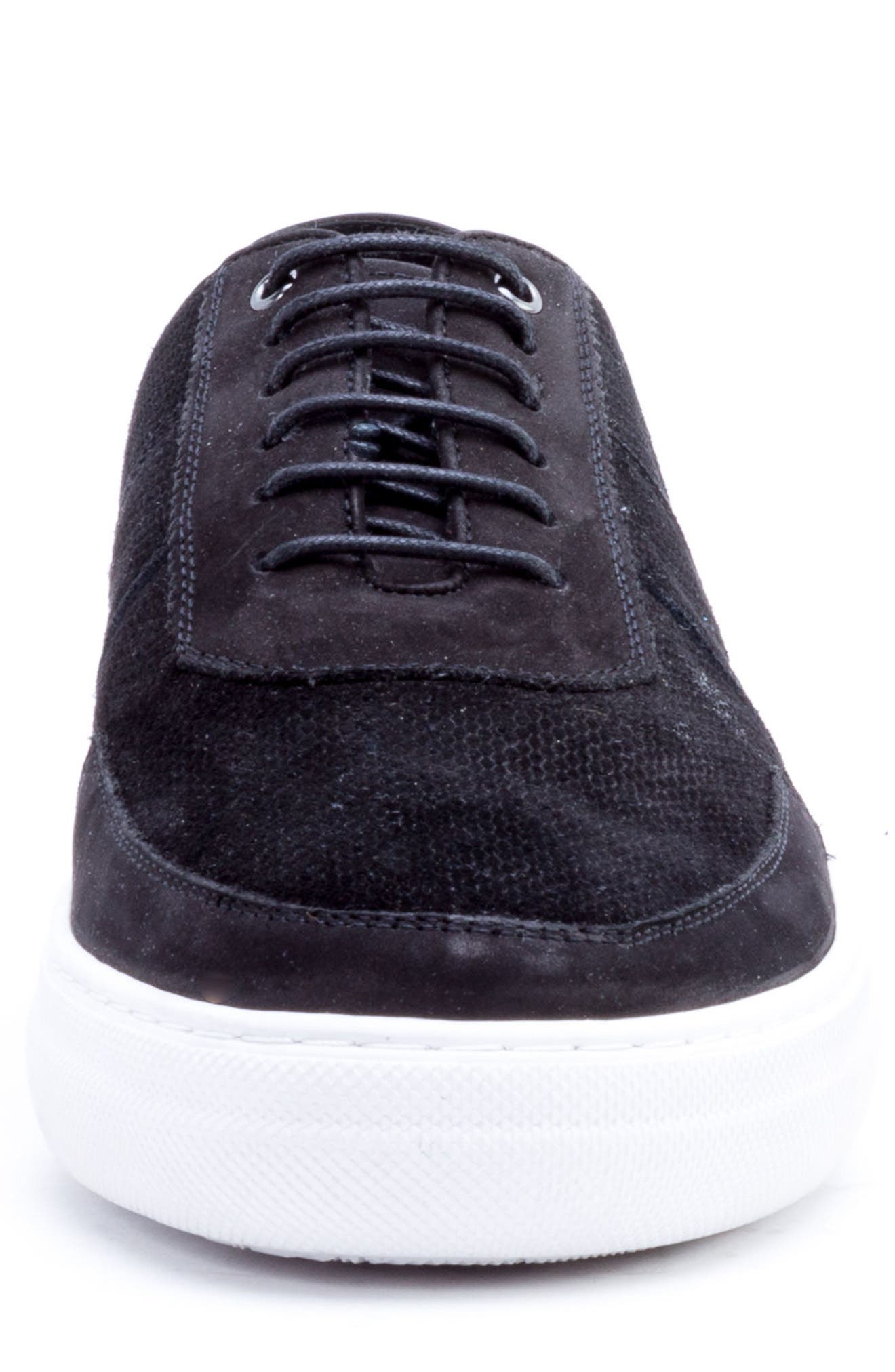 House Low Top Sneaker,                             Alternate thumbnail 4, color,                             BLACK SUEDE/ LEATHER