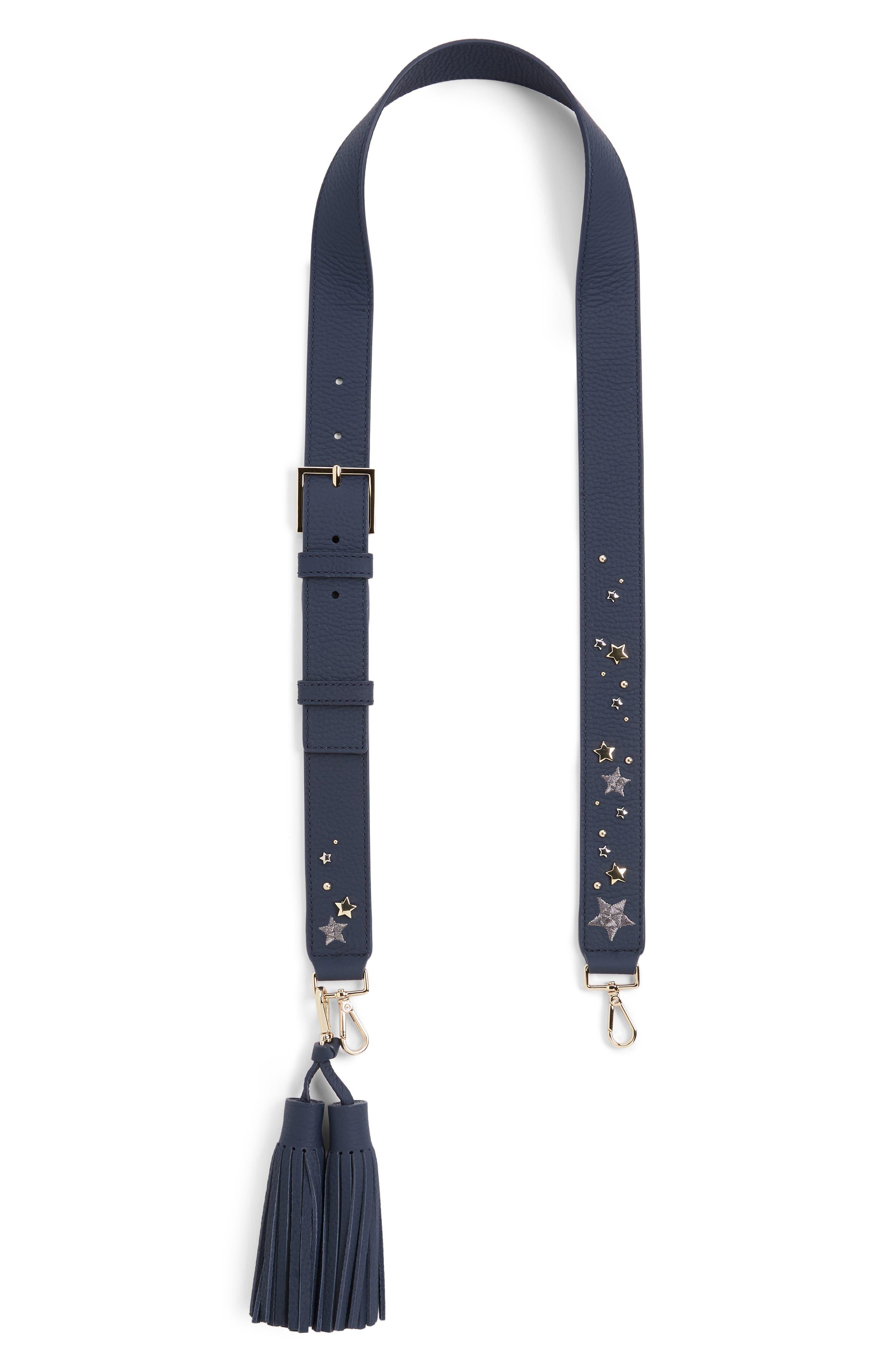 make it mine cascade star leather guitar bag strap & tassels,                         Main,                         color, 400