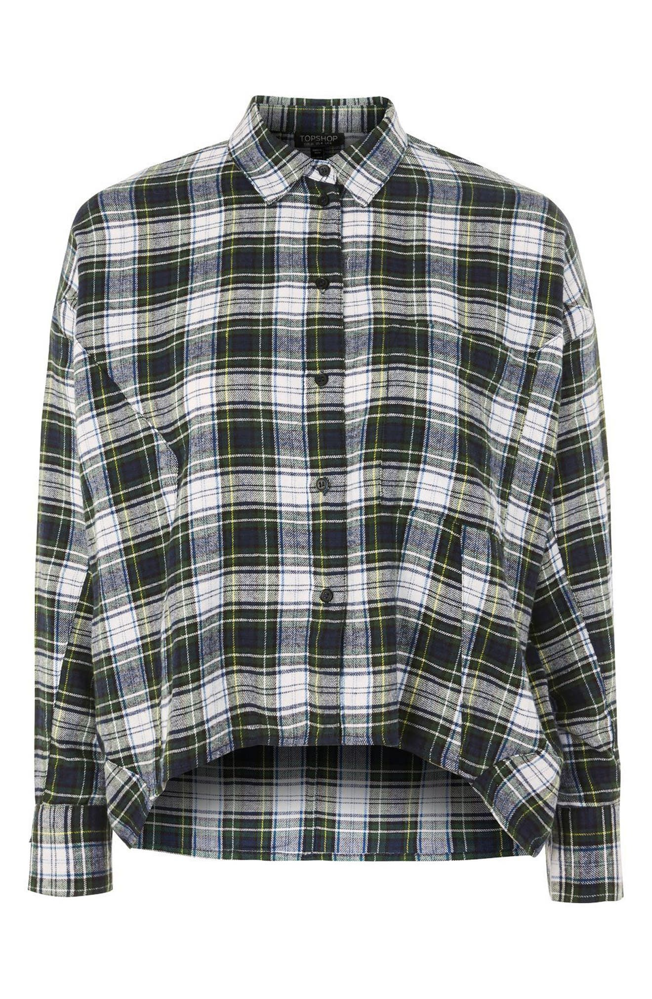 Boxy Plaid Shirt,                             Alternate thumbnail 3, color,                             300