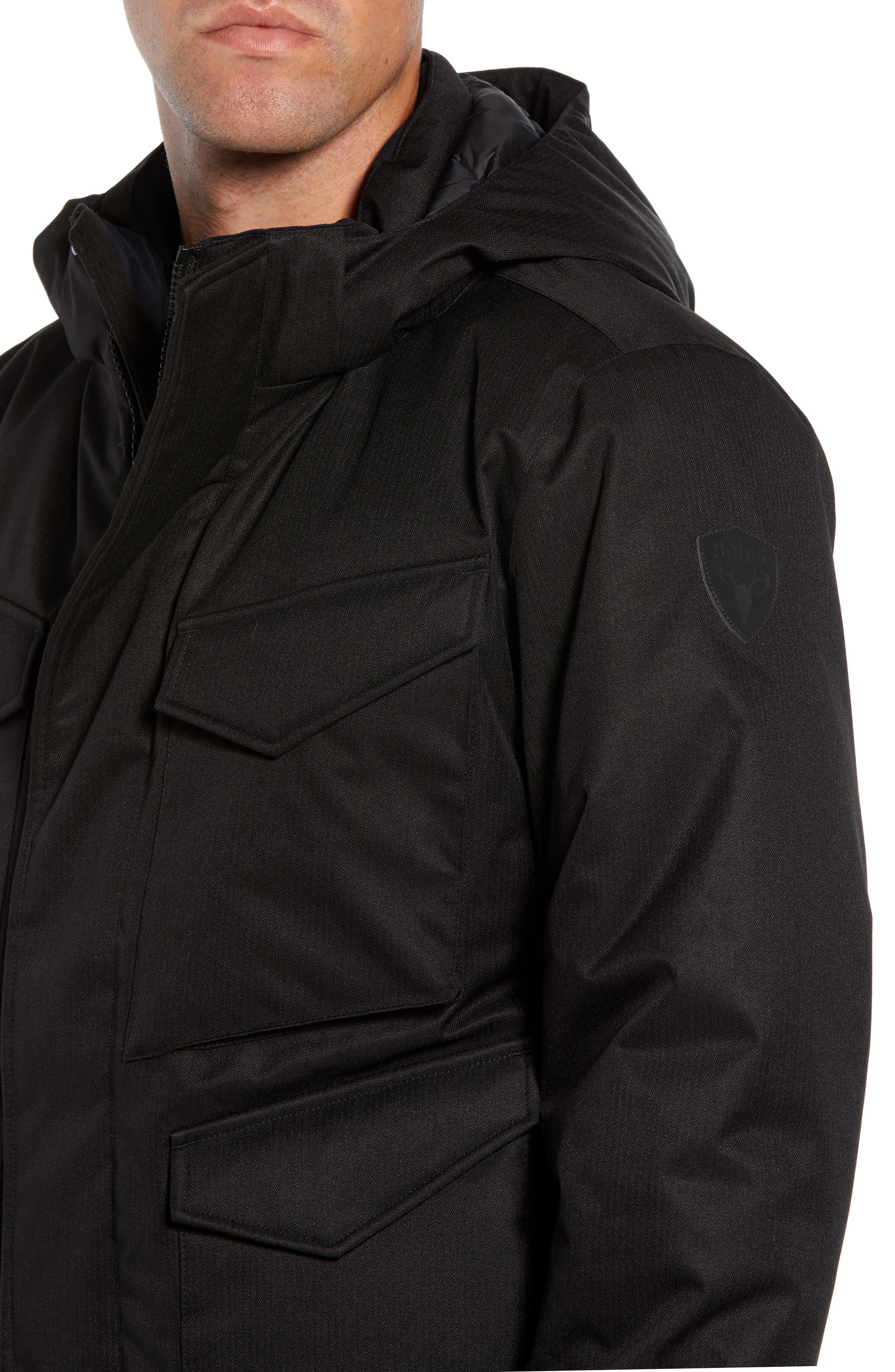 Ash Windproof & Waterproof 650 Fill Power Down Bomber Jacket,                             Alternate thumbnail 4, color,                             BLACK