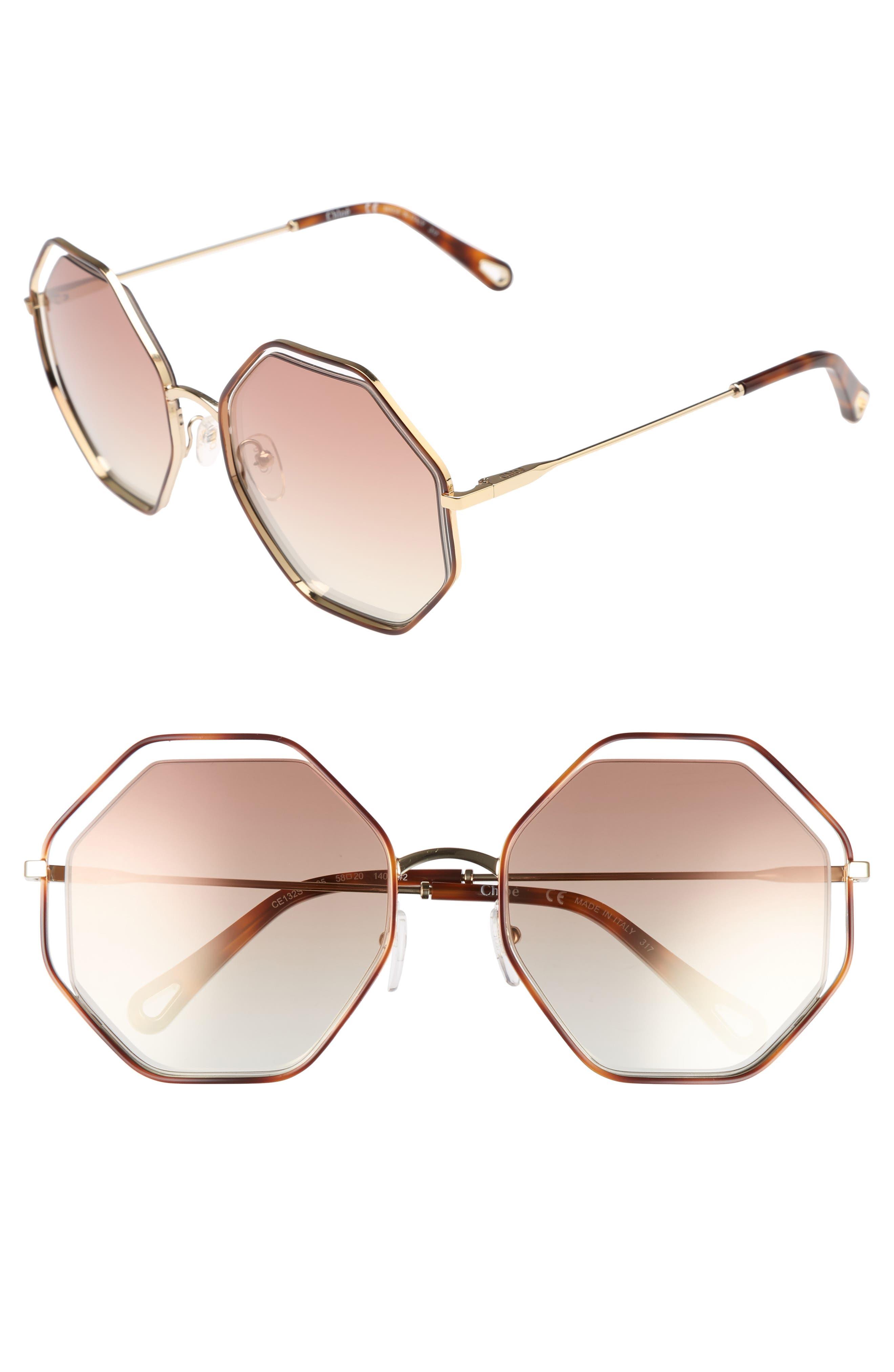 58mm Octagonal Halo Lens Sunglasses,                         Main,                         color, HAVANA/ BRONZE