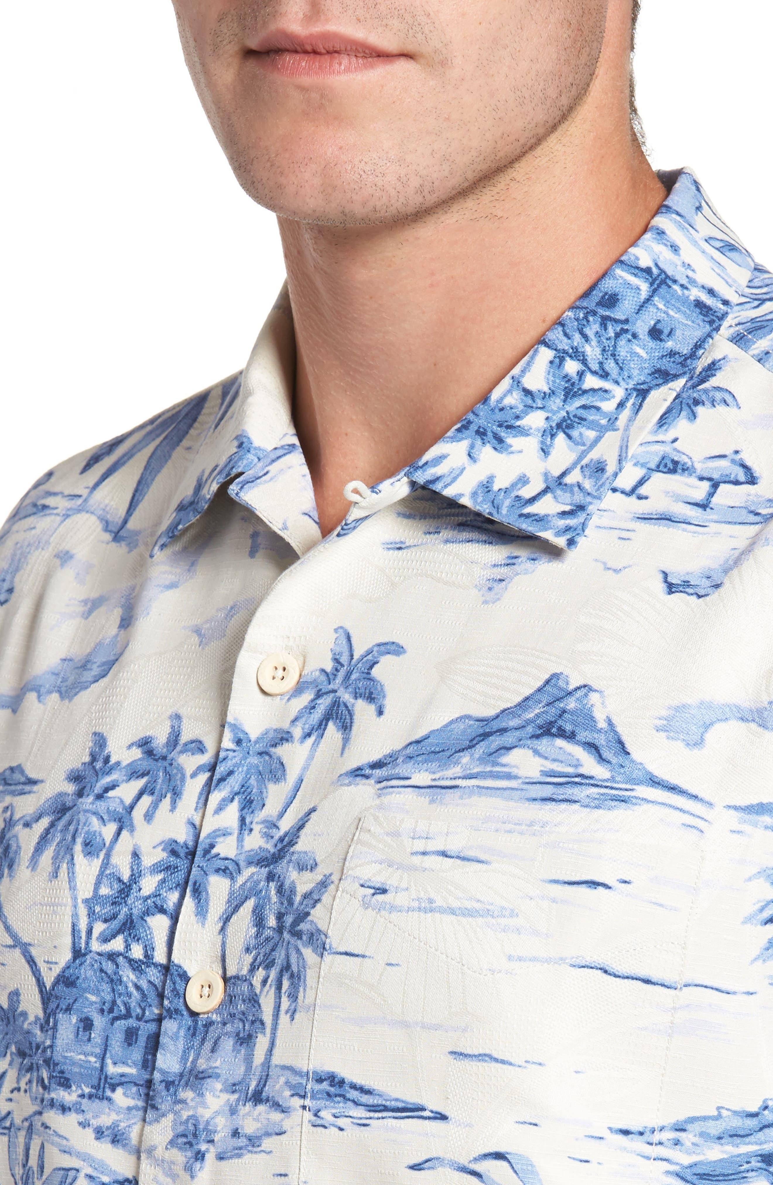 Destination Hawaii Classic Fit Silk Camp Shirt,                             Alternate thumbnail 4, color,                             100