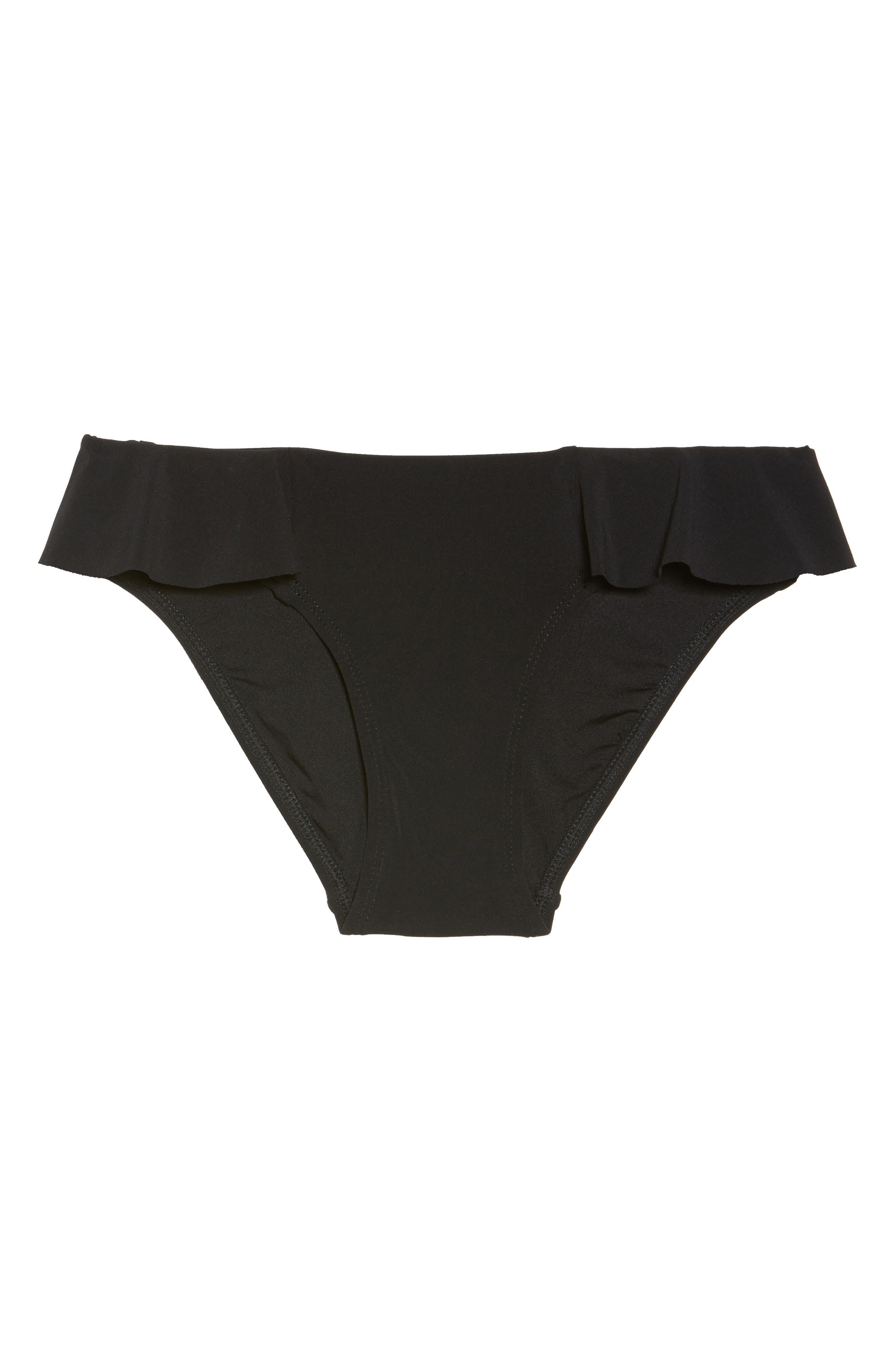 Lina Ruffle Bikini Bottoms,                             Alternate thumbnail 6, color,                             BLACK