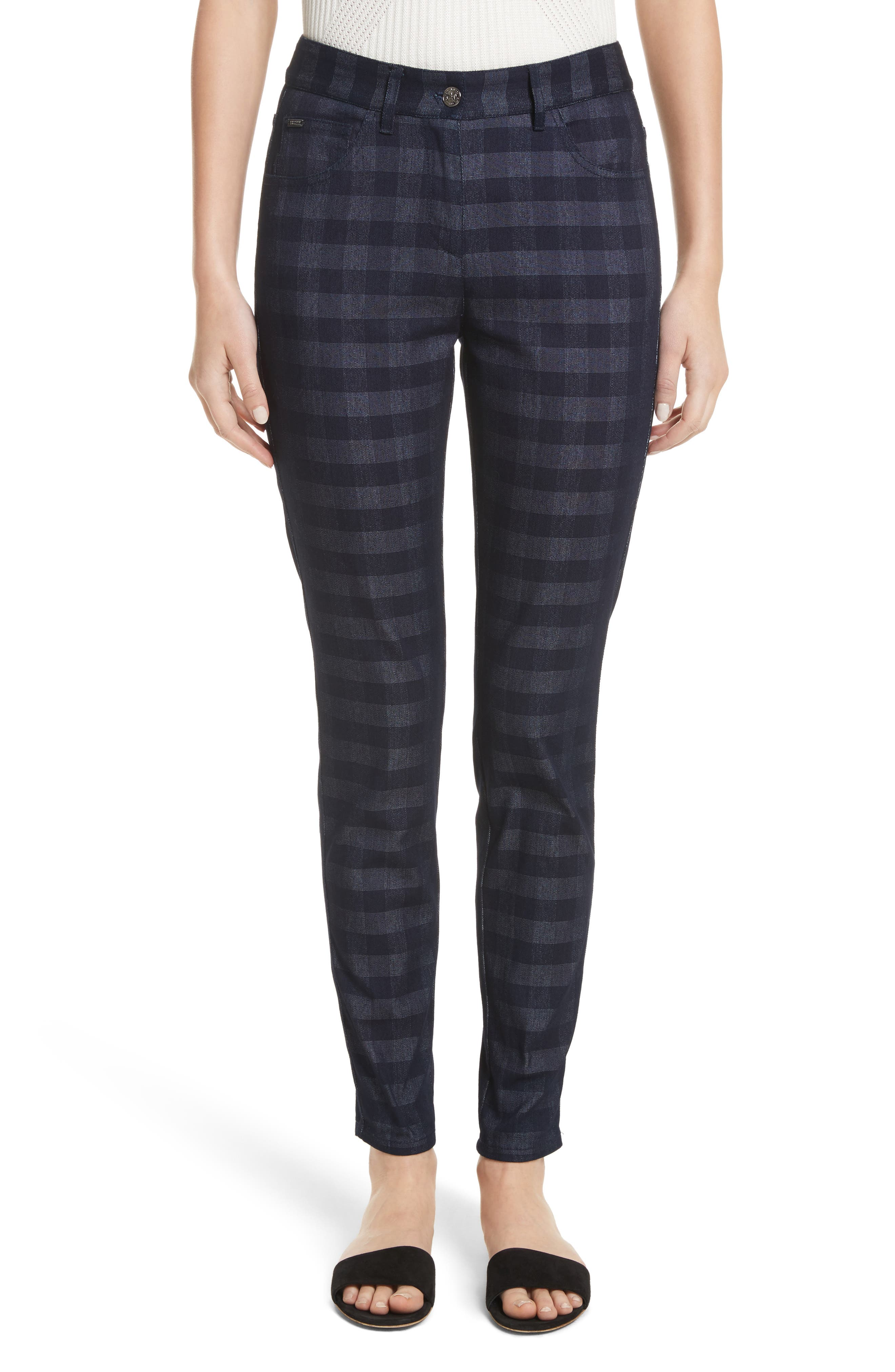 Gingham Skinny Jeans,                         Main,                         color,