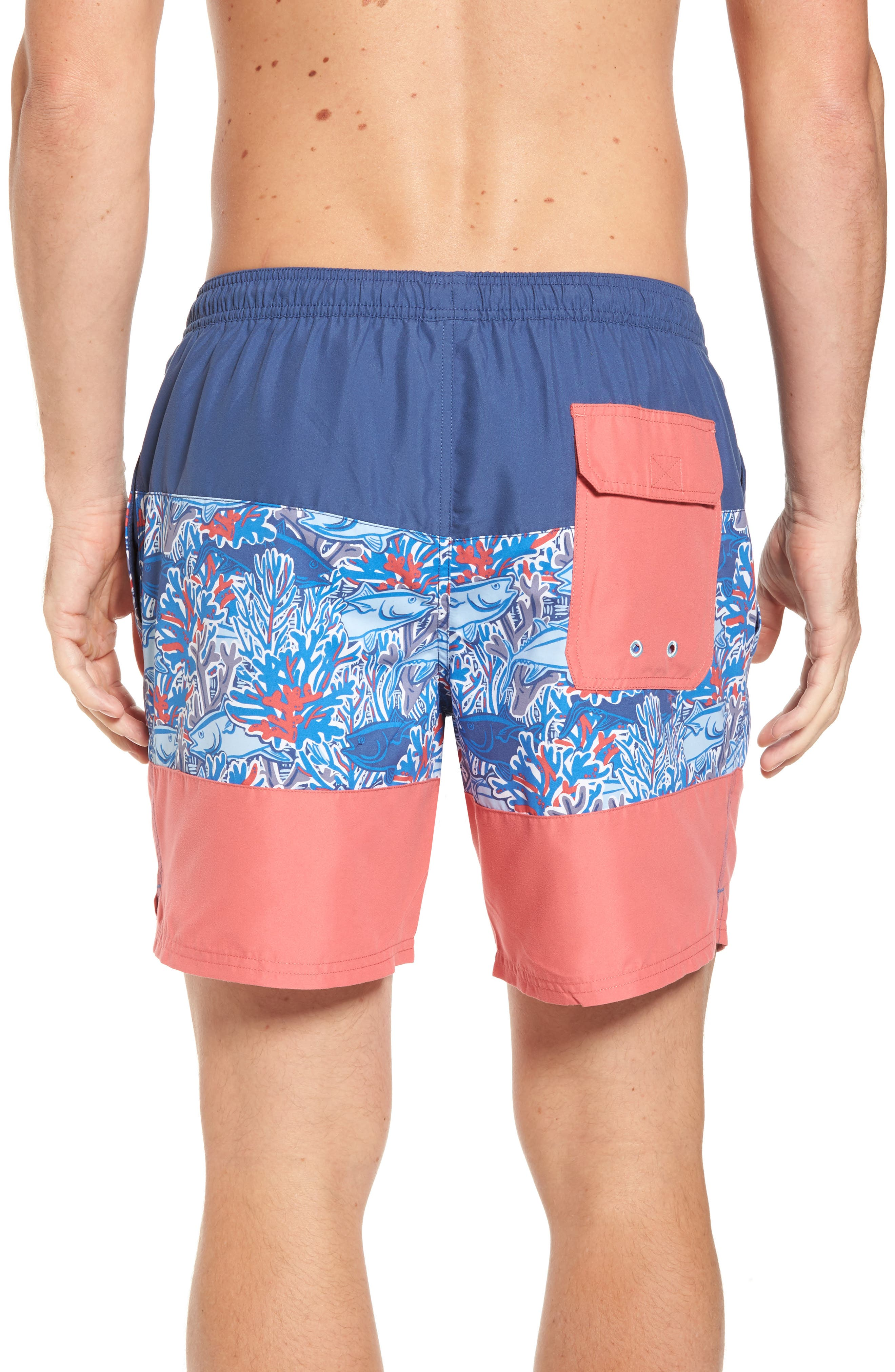 Chappy - Tuna in Coral Pieced Print Swim Trunks,                             Alternate thumbnail 2, color,