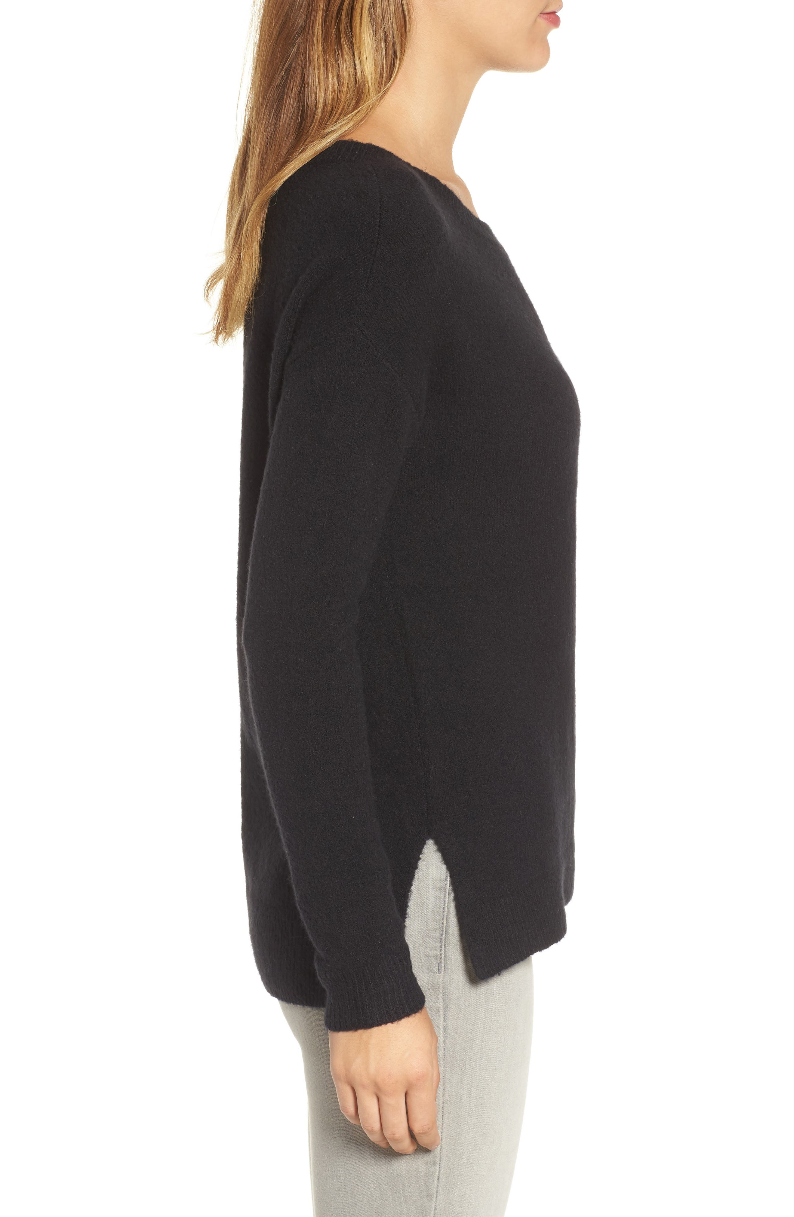Back Zip High/Low Sweater,                             Alternate thumbnail 3, color,                             001