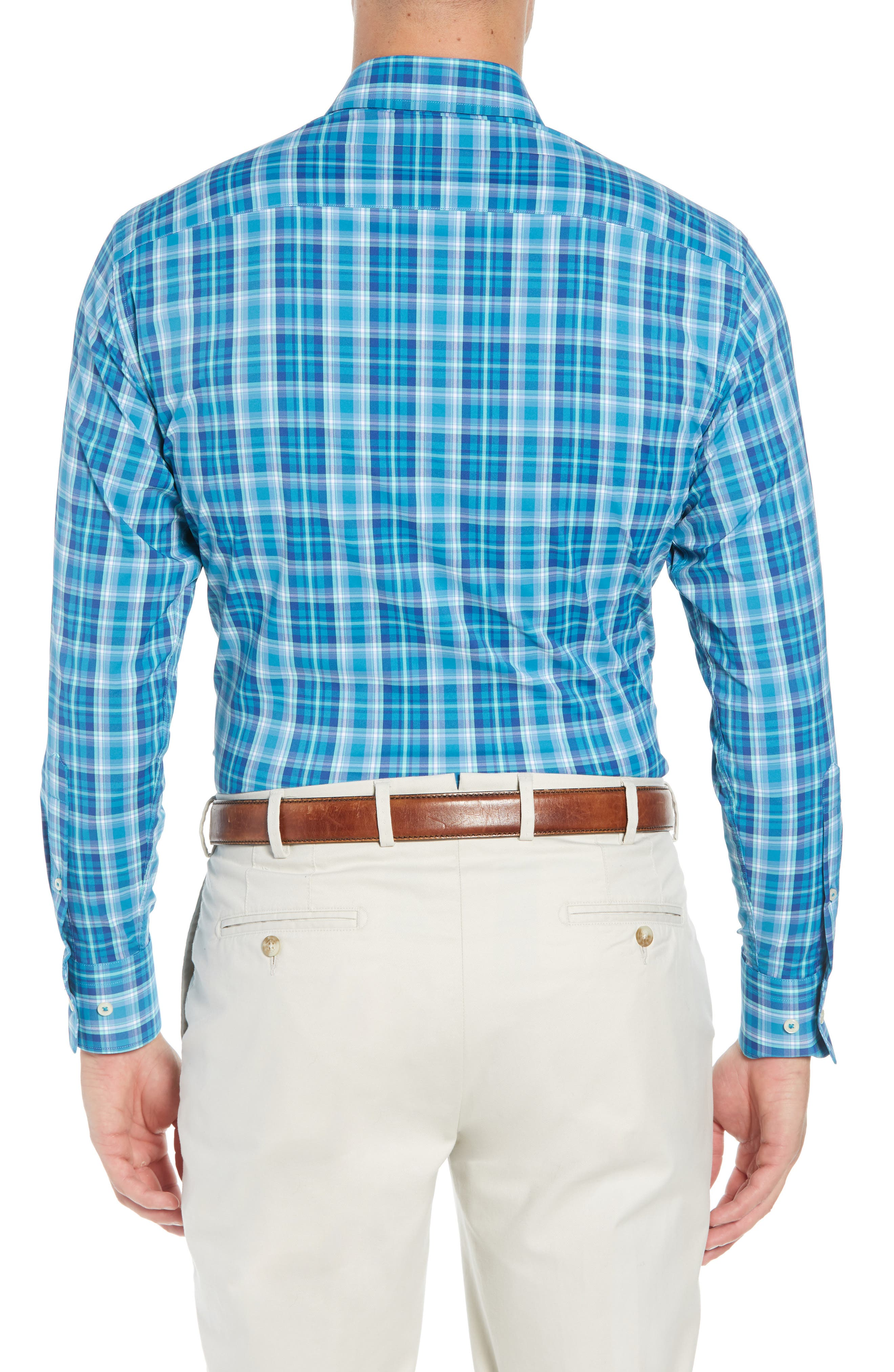 Van Regular Fit Check Performance Sport Shirt,                             Alternate thumbnail 3, color,                             BLUE