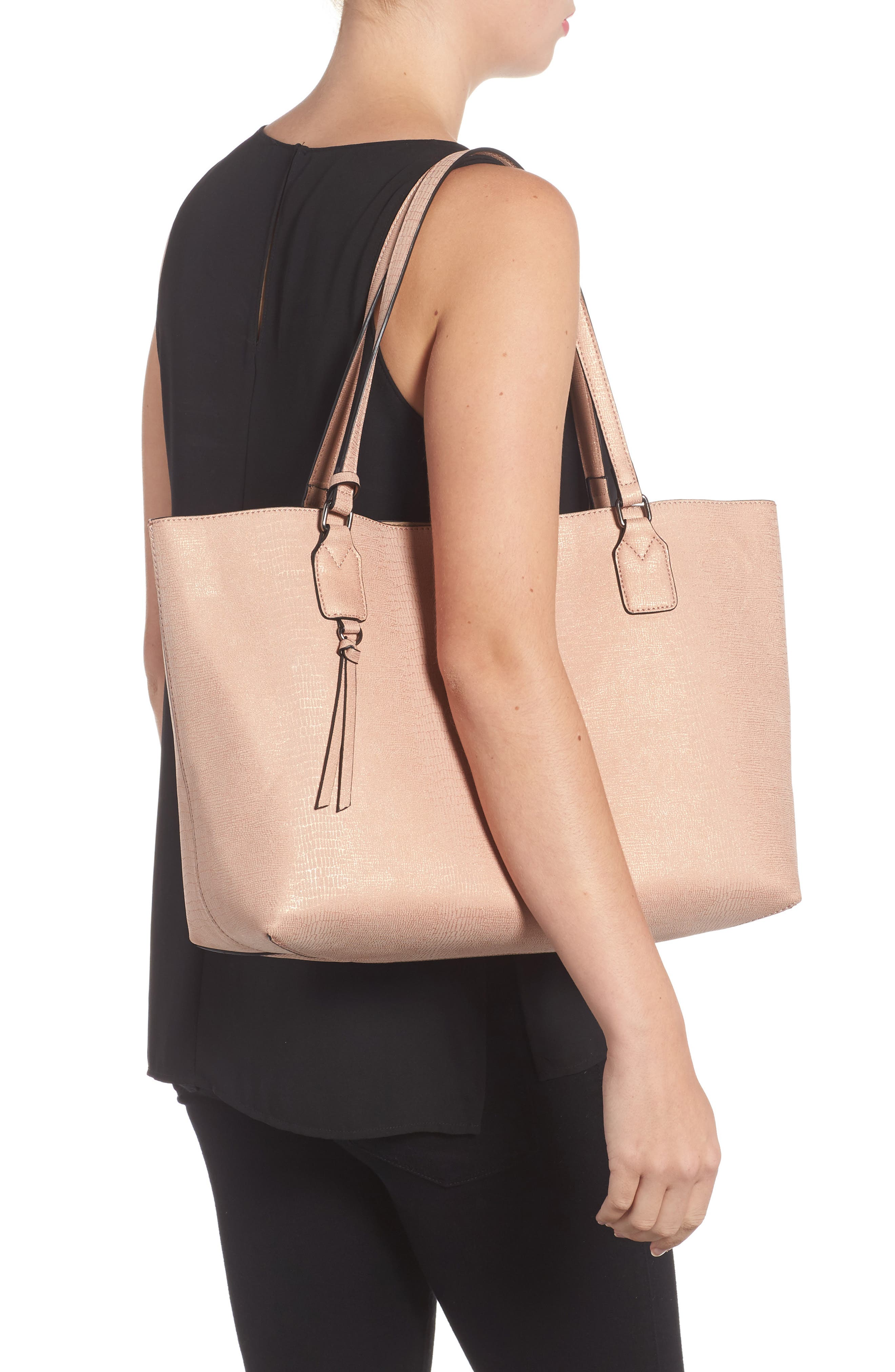 Snake Embossed Faux Leather Tote,                             Alternate thumbnail 5, color,