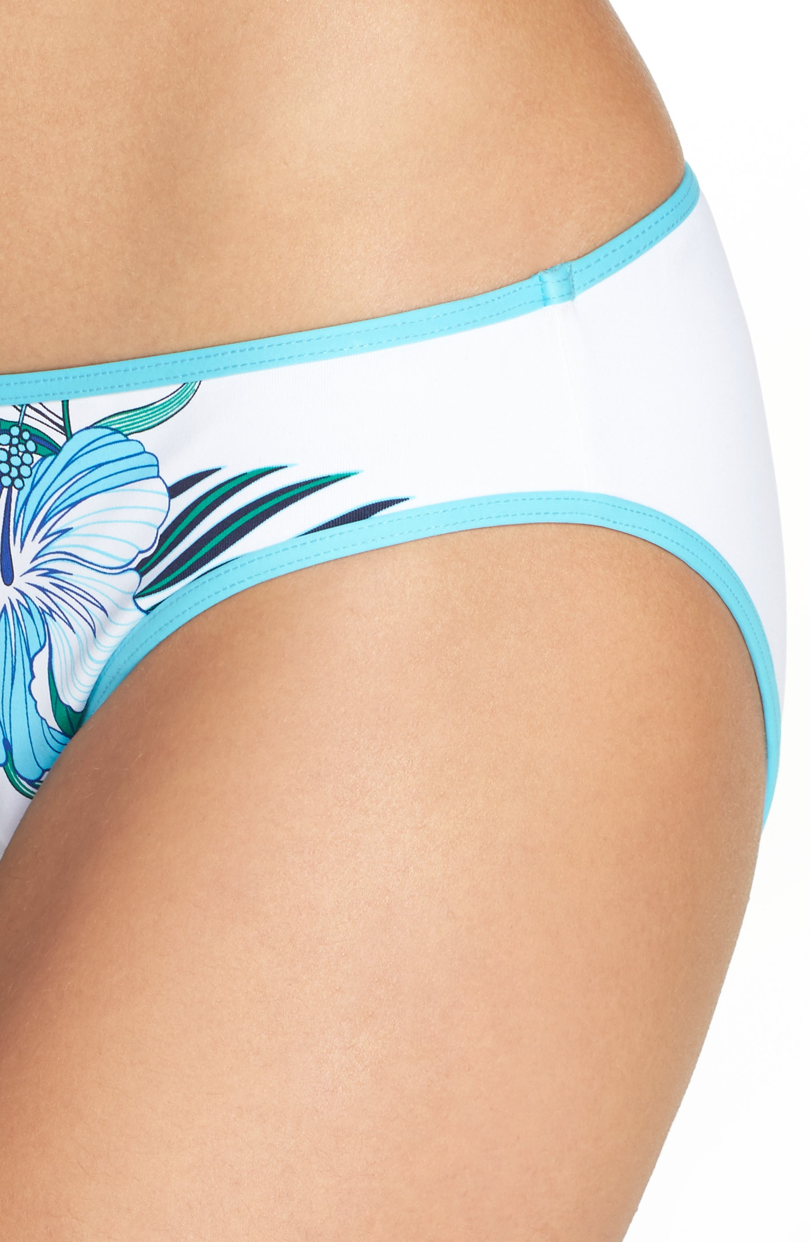 Hibiscus Print Bikini Bottoms,                             Alternate thumbnail 4, color,                             100