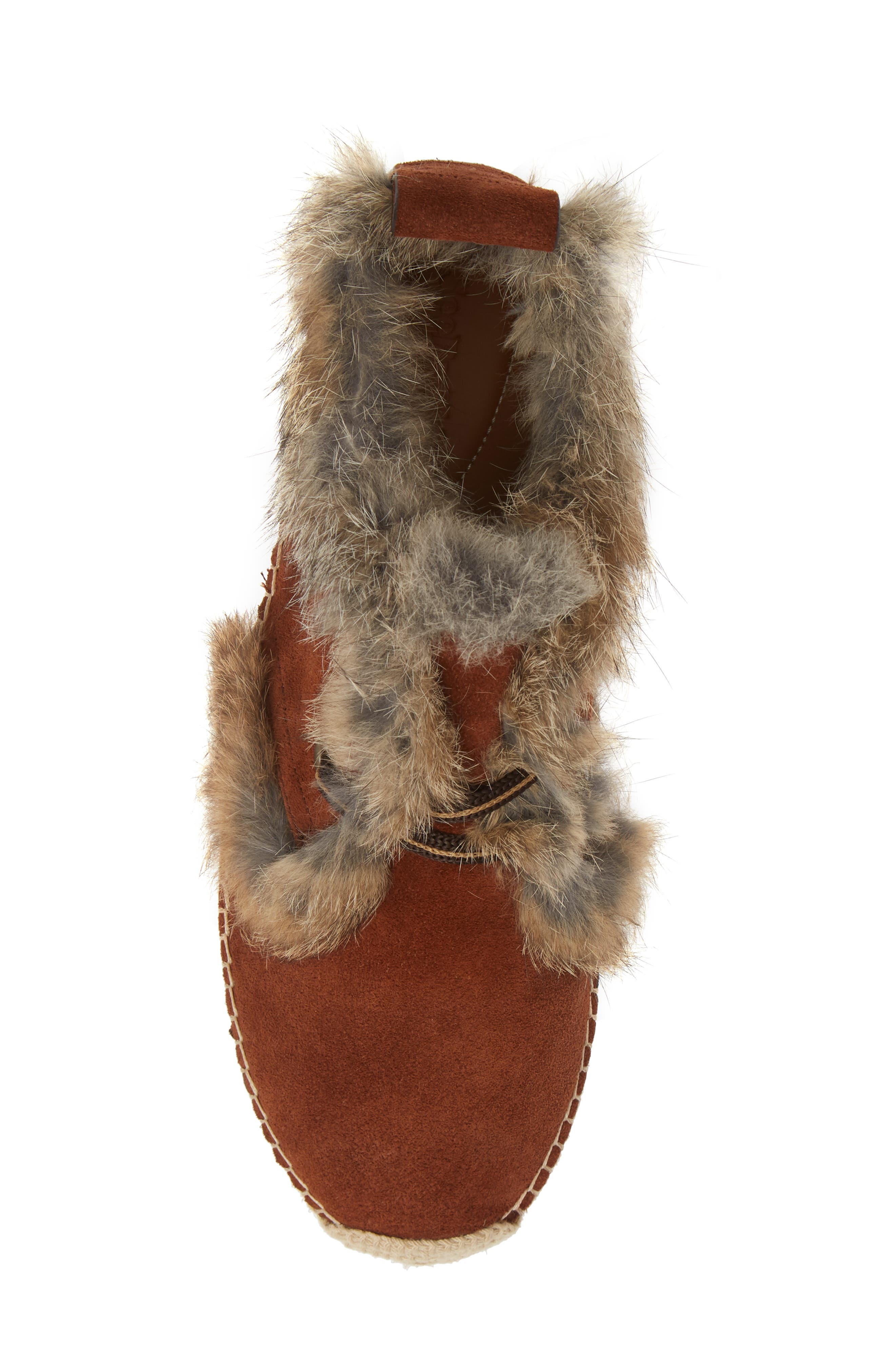 Glyn Genuine Shearling & Genuine Rabbit Fur Lace-Up Espadrille,                             Alternate thumbnail 5, color,                             COLA