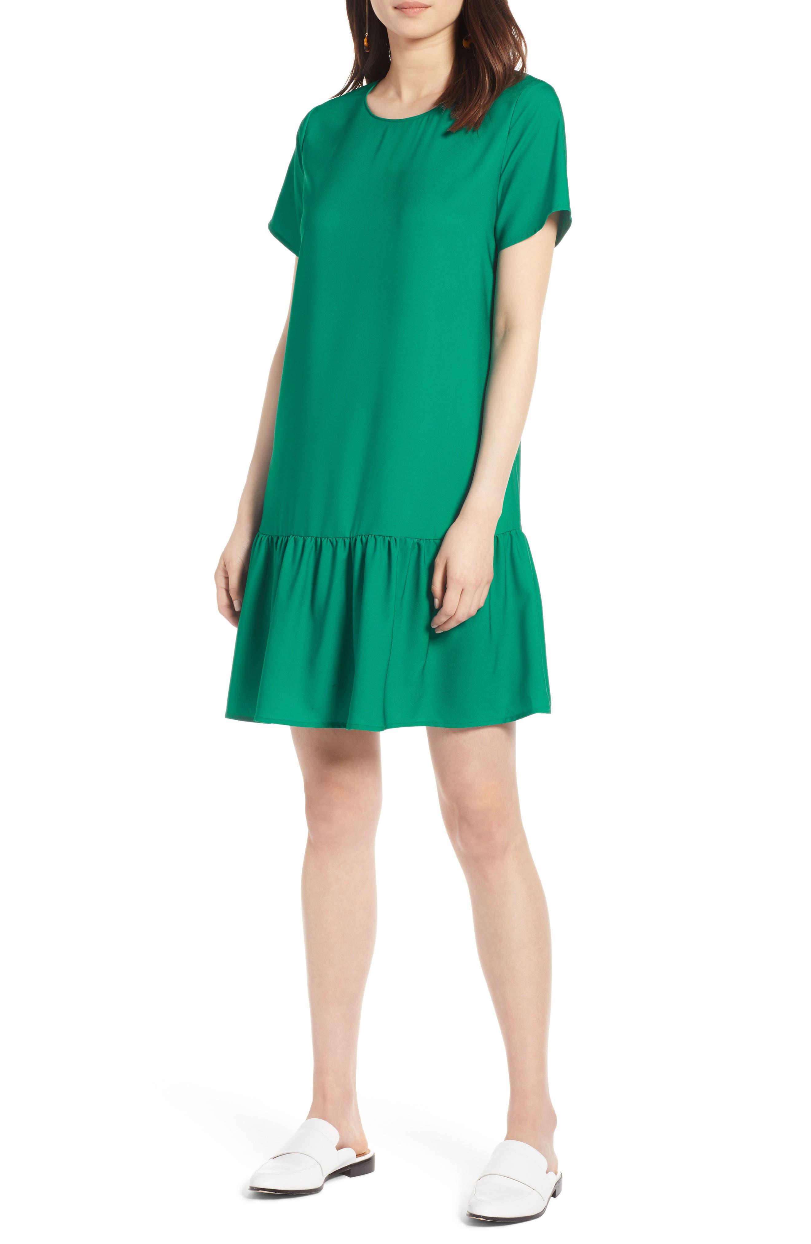 Short Sleeve Ruffle Hem Dress,                             Alternate thumbnail 28, color,