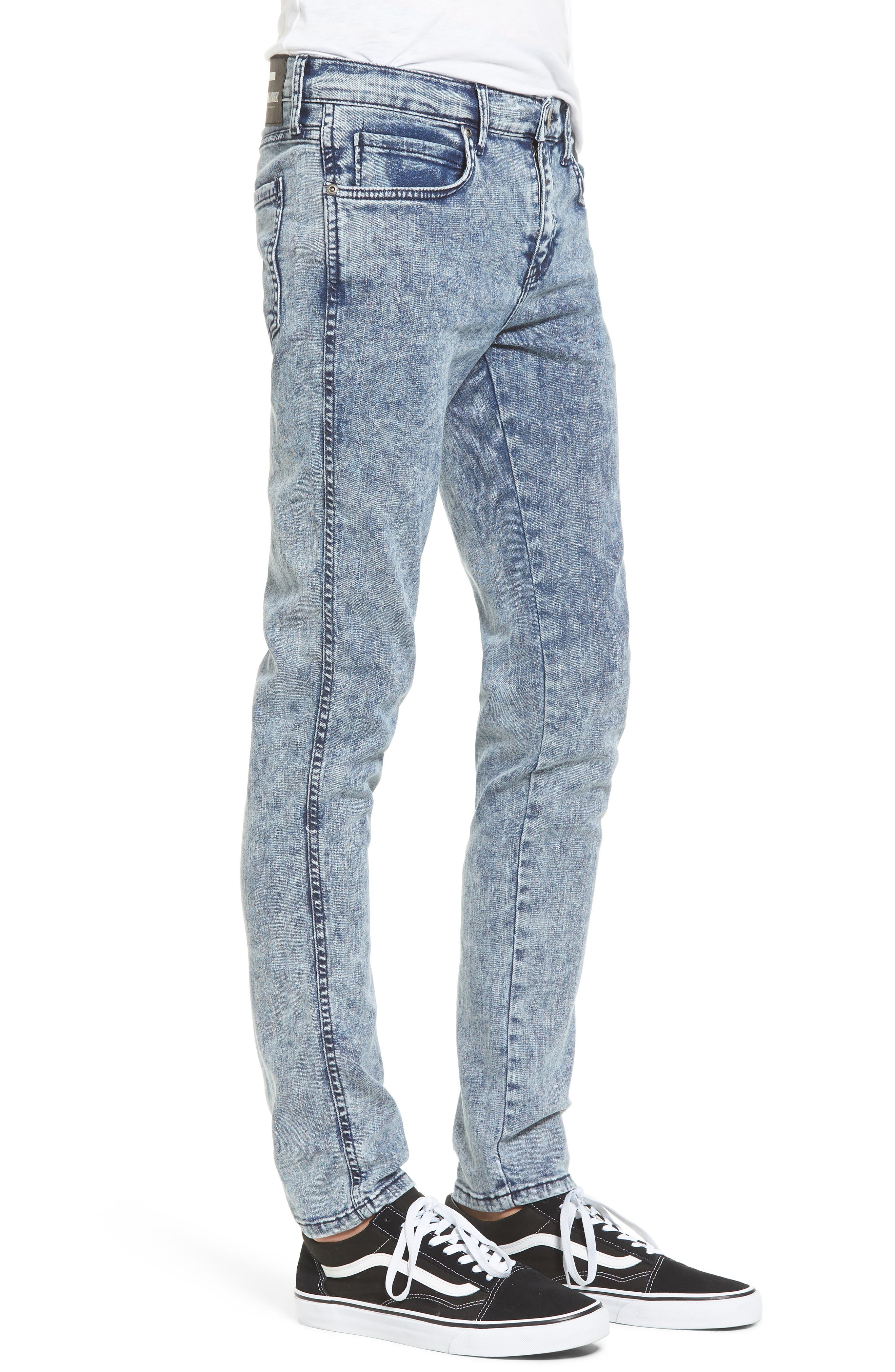 Snap Skinny Fit Jeans,                             Alternate thumbnail 3, color,                             400
