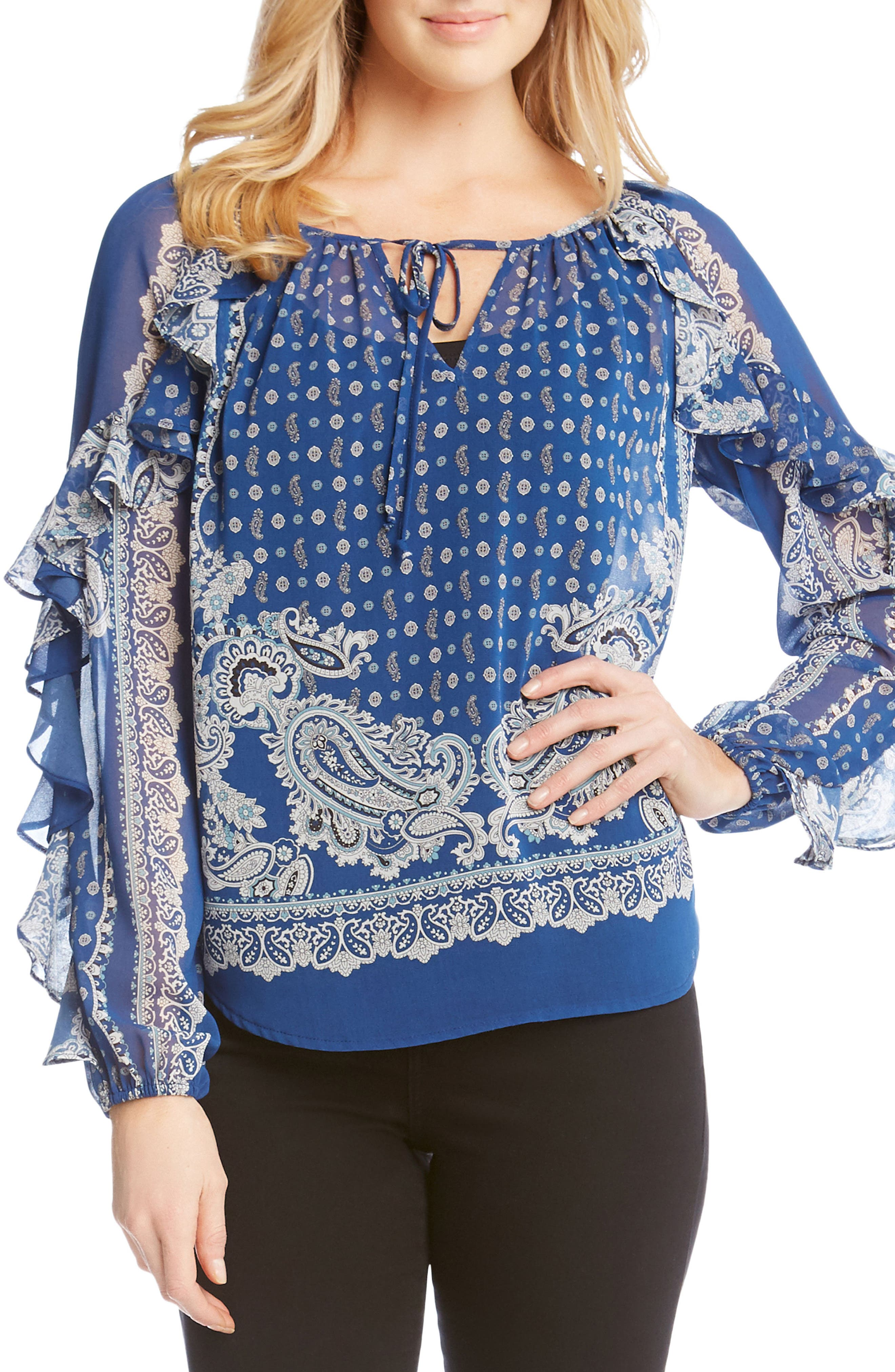 Ruffle Sleeve Scarf Print Blouse,                         Main,                         color, 460