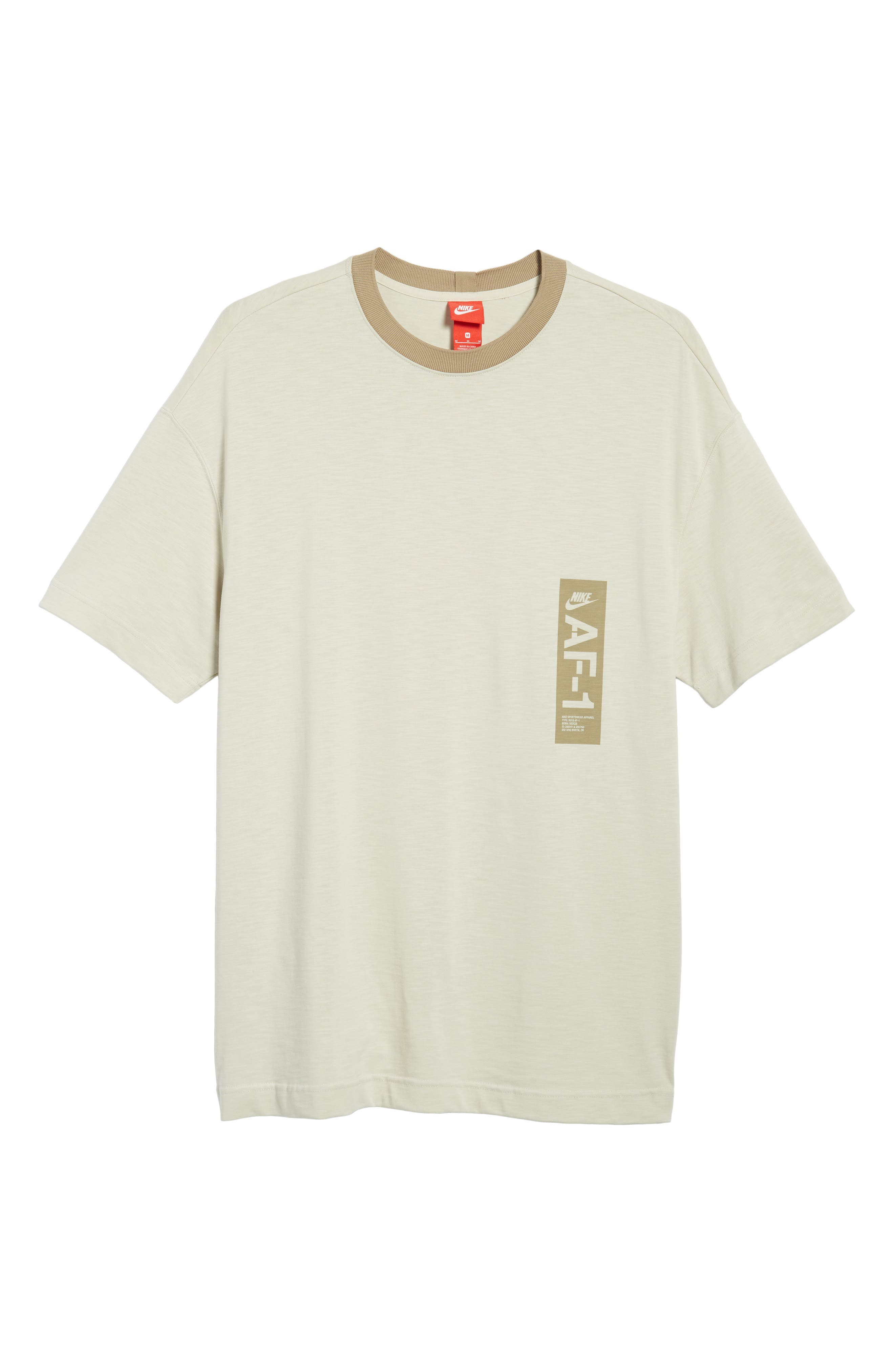 Sportswear AF1 Graphic T-Shirt,                             Alternate thumbnail 6, color,                             LIGHT BONE/ KHAKI